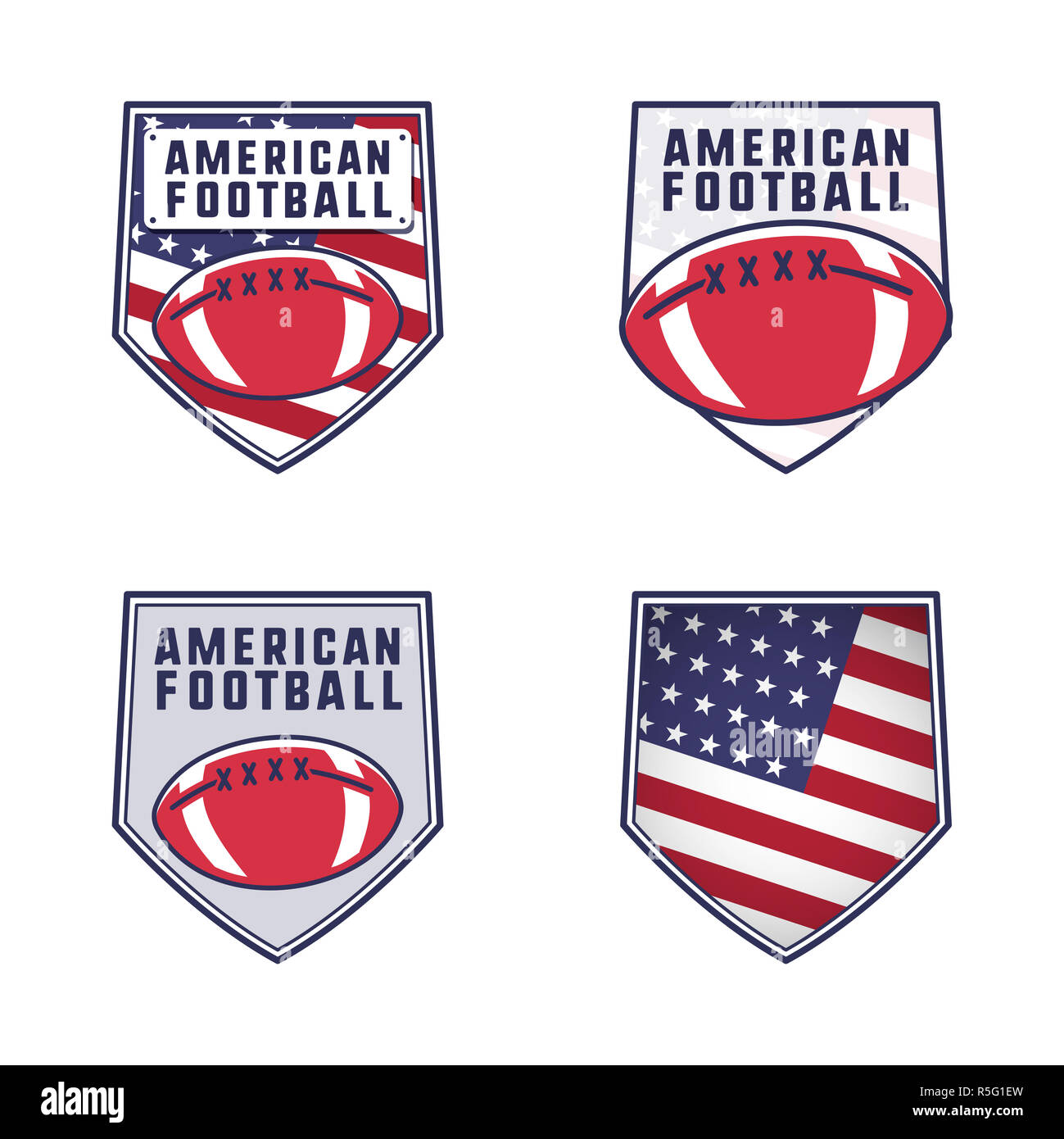 American football logo emblems set. USA sports badges collection in flat colorful style. Cute logotypes design with ball and america flag. Stock insignias isolated on white background - Stock Image