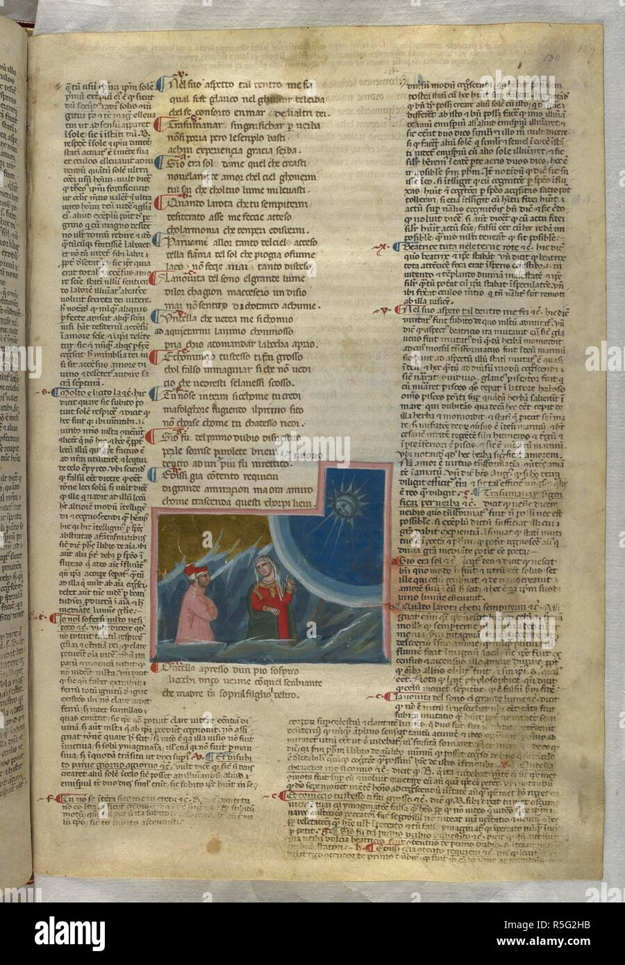Paradiso : Beatrice explaining the order of the universe to Dante. Dante Alighieri, Divina Commedia ( The Divine Comedy ), with a commentary in Latin. 1st half of the 14th century. Source: Egerton 943, f.130. Language: Italian, Latin. - Stock Image