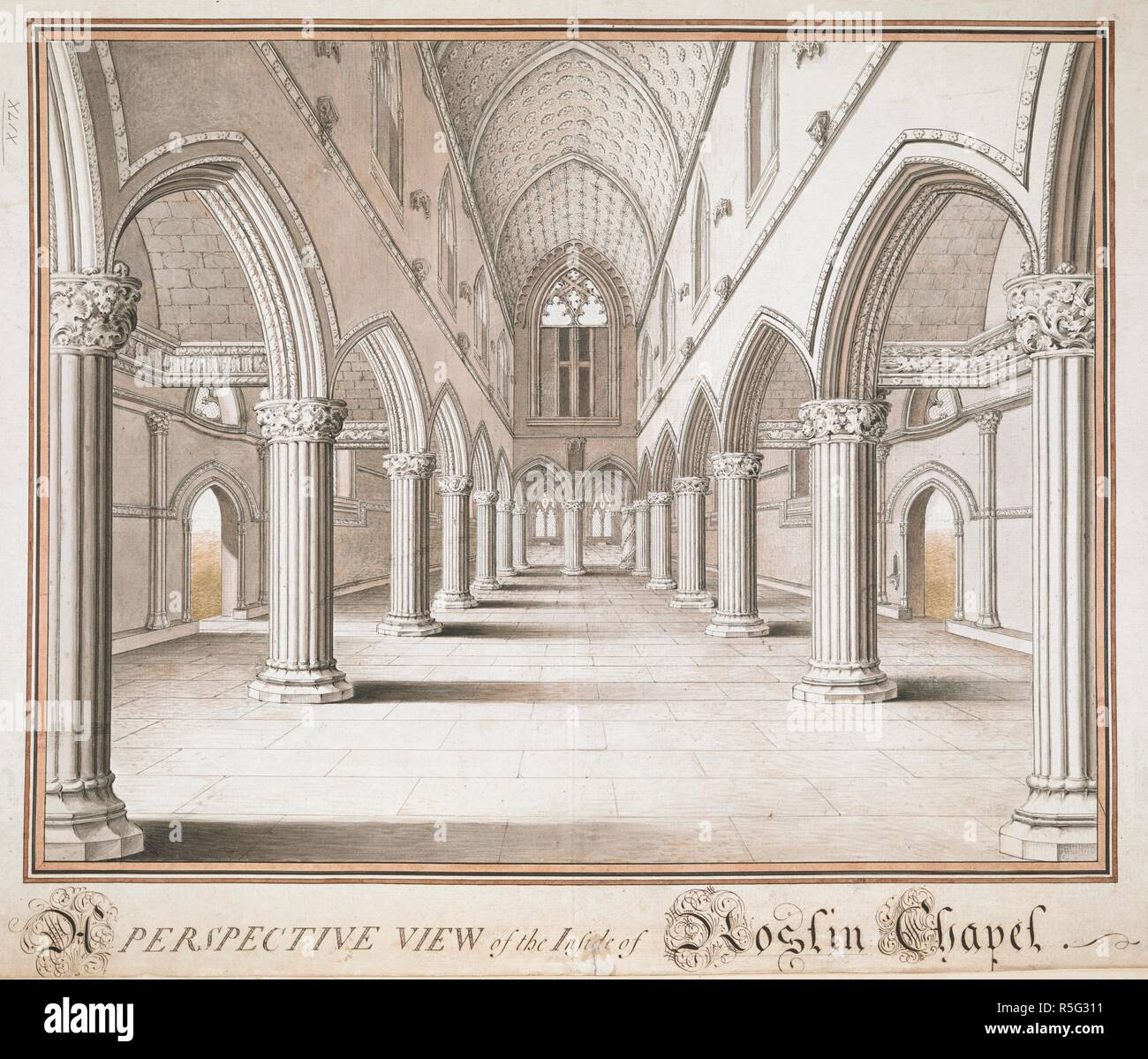 A view of the interior of Roslin Chapel, looking east. A view, in Indian ink, of the interior of Roslin Chapel, looking east. ca. 1761. Source: Maps K.Top.49.79.g. Language: English. Stock Photo