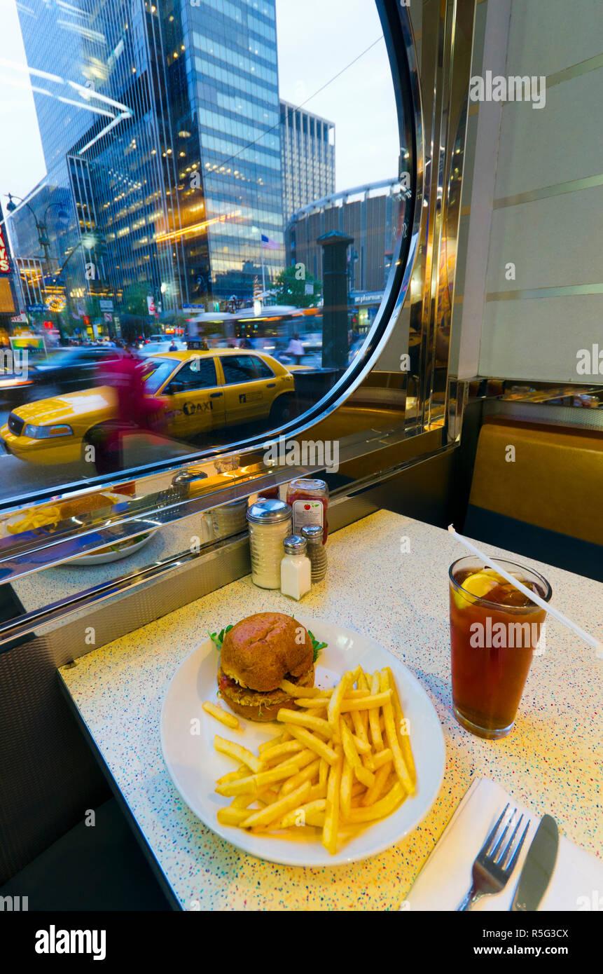 USA, New York, Manhattan, Midtown, 8th Avenue, Tick Tock Diner - Stock Image