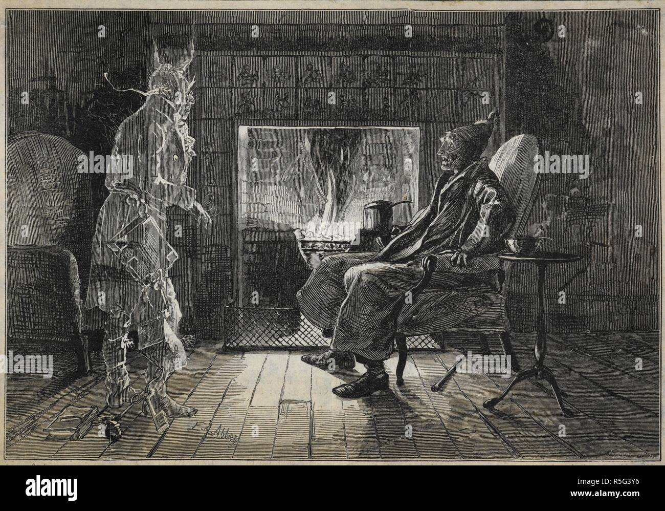 Jacob Marley Christmas Carol.Ebenezer Scrooge Visited By The Ghost Of Jacob Marley A