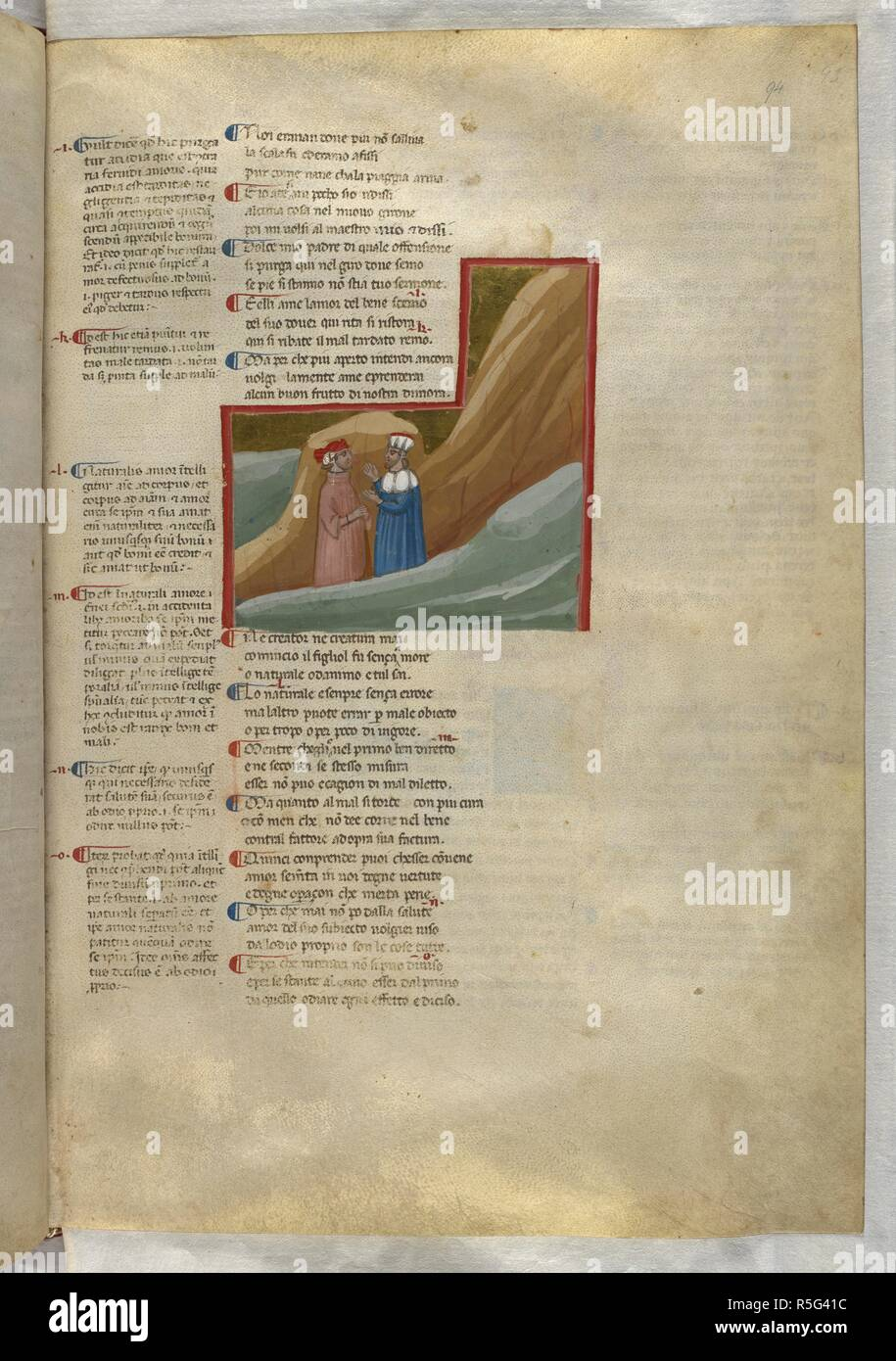 Purgatorio: Dante and Virgil talking about the nature of love. Dante Alighieri, Divina Commedia ( The Divine Comedy ), with a commentary in Latin. 1st half of the 14th century. Source: Egerton 943, f.94. Language: Italian, Latin. - Stock Image