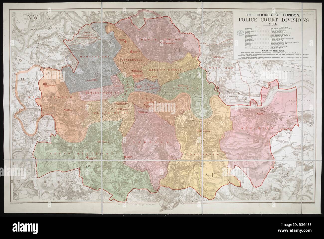 A map of London showing the Police Court Divisions . The ... Map Of Nches Government on