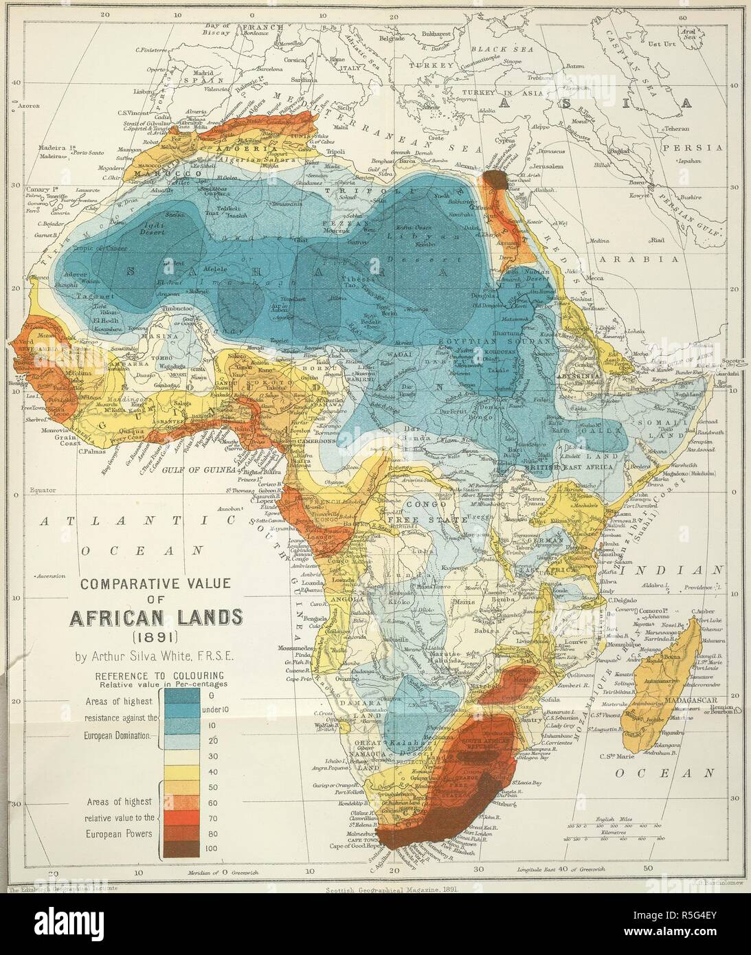 Africa. Comparative value of African lands (1891). 1891. A ...