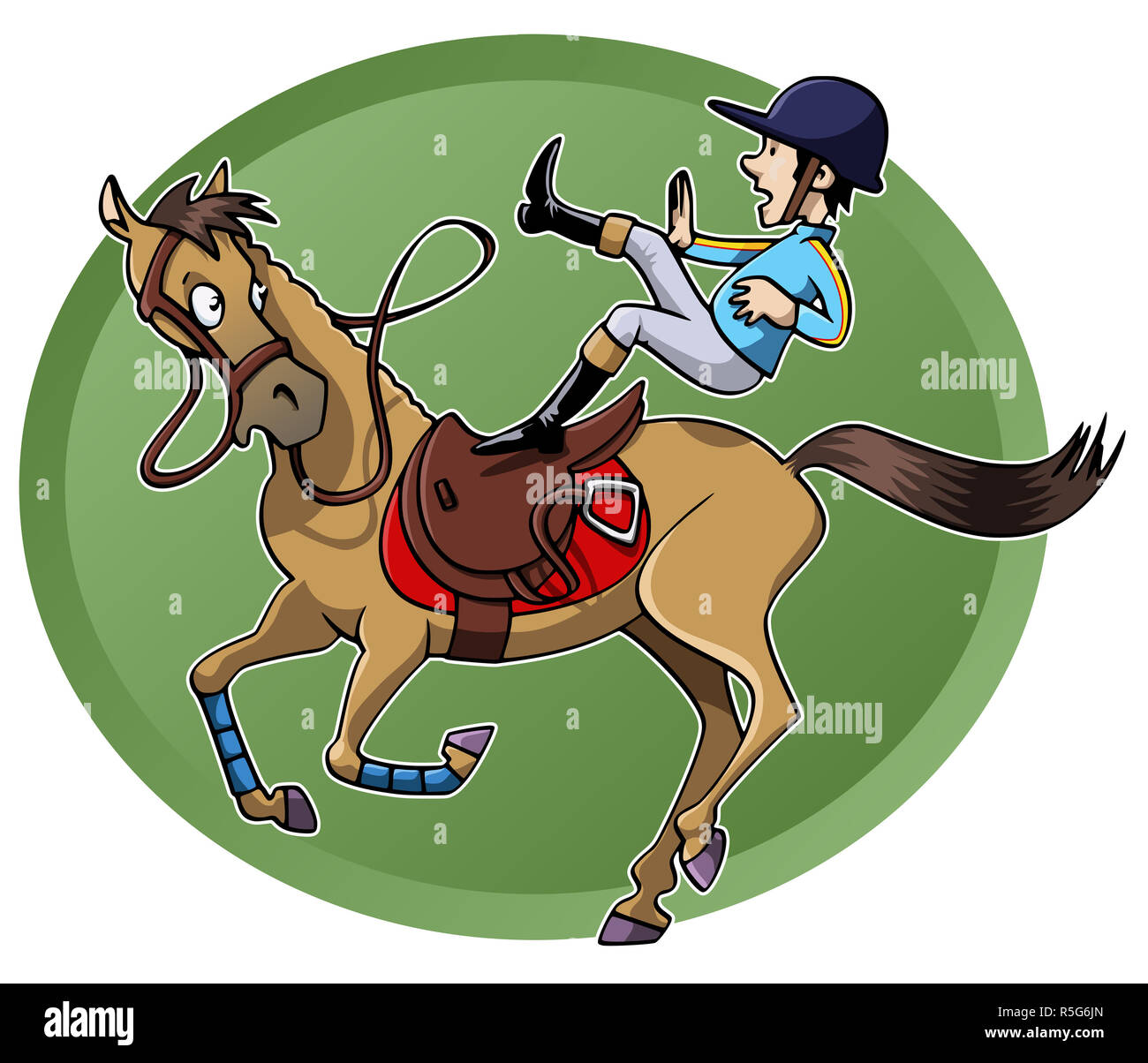 5db54c04c Funny cartoon-style illustration: a rider is unsaddled from his ...