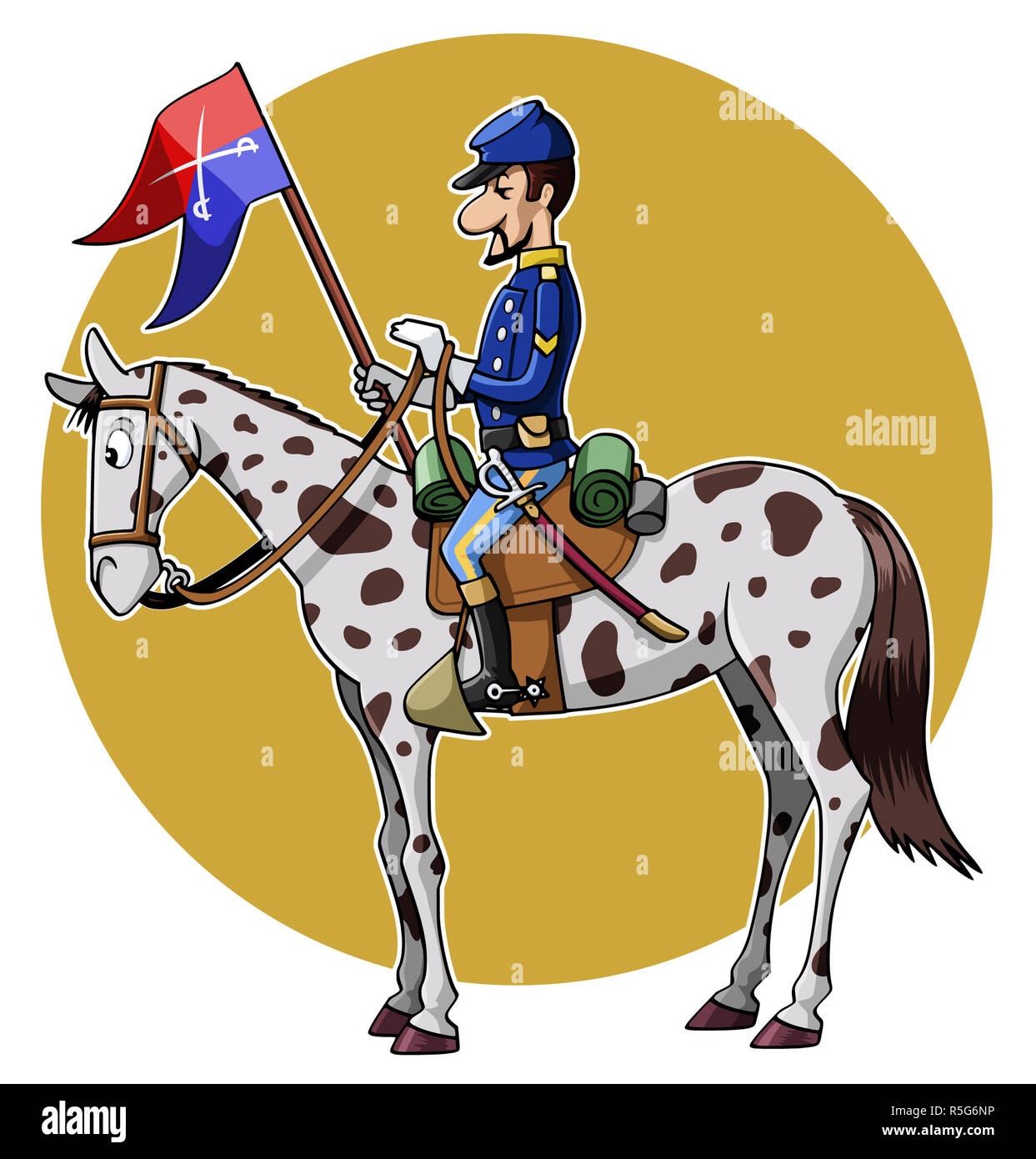 Cartoon-style illustration: United States Cavalry soldier riding his horse - Stock Image