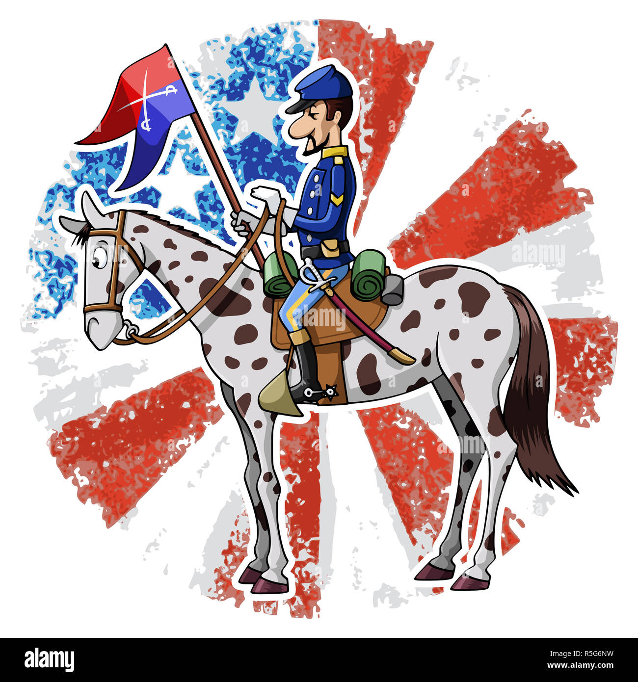 Cartoon-style illustration: United States Cavalry soldier riding his horse. American grunge flag on the background - Stock Image
