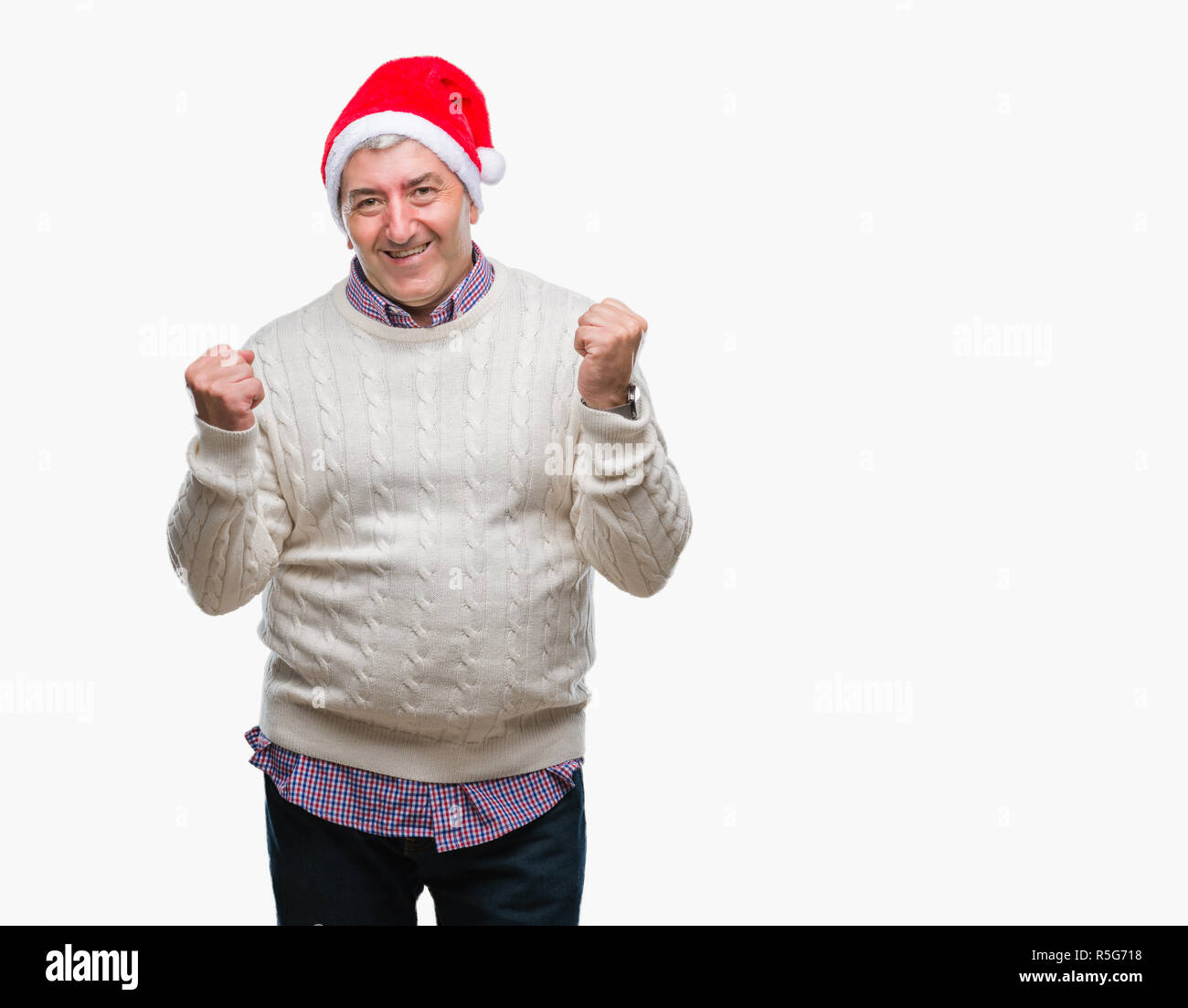 Handsome senior man wearing christmas hat over isolated background very happy and excited doing winner gesture with arms raised, smiling and screaming - Stock Image