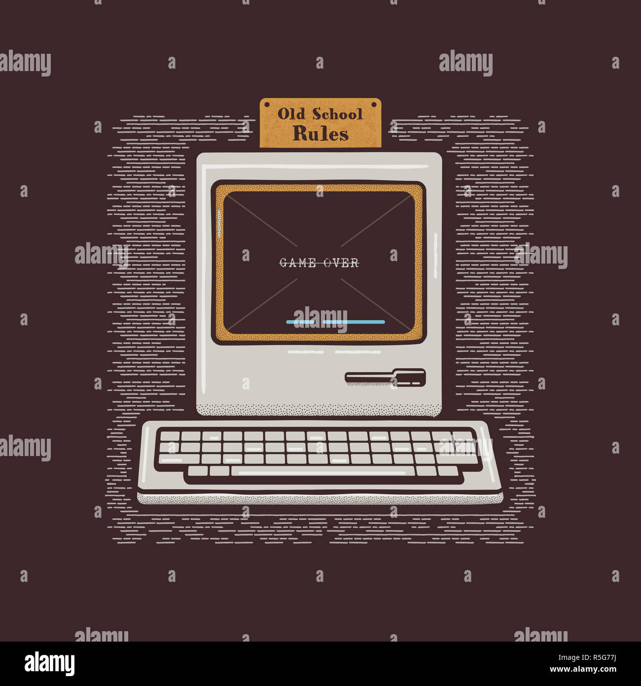 Old Personal Computer. Retro PC icon emblem with Old School Rules quote. Stock flat illustration isolated on dark background - Stock Image