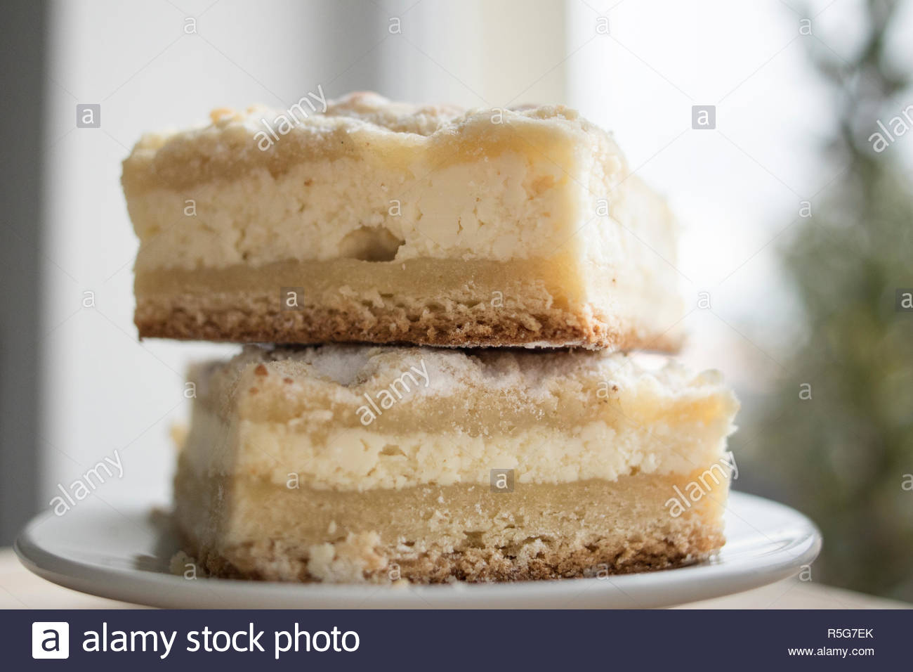 Two pieces of cheese pie on a plate in side view. Stock Photo