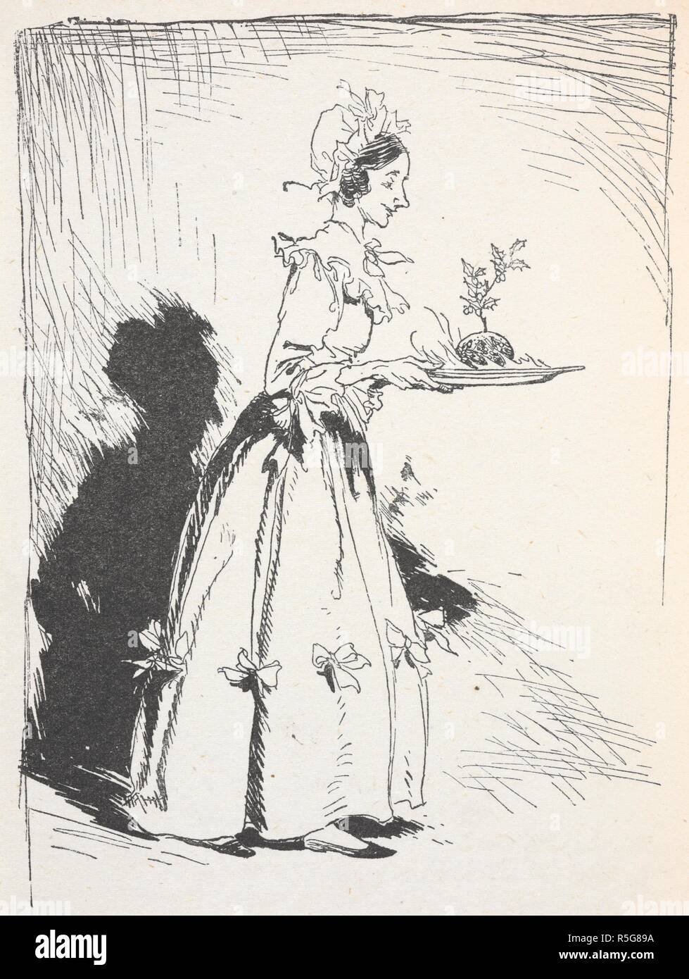 Illustration Of A Woman Carrying A Christmas Pudding A Christmas Carol Illustrated By Arthur Rackham London J B Lippincott Co Philadelphia Wiiliam Heinemann 1915 With The Pudding Source 012622 G 37 Page
