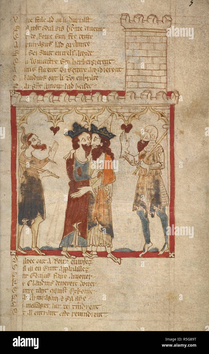Claudius and Arviragus embrace. ROMANCES in French verse ... 14th century. Source: Egerton 3028 f.3. Author: Wace, Canon of Bayeux. Stock Photo