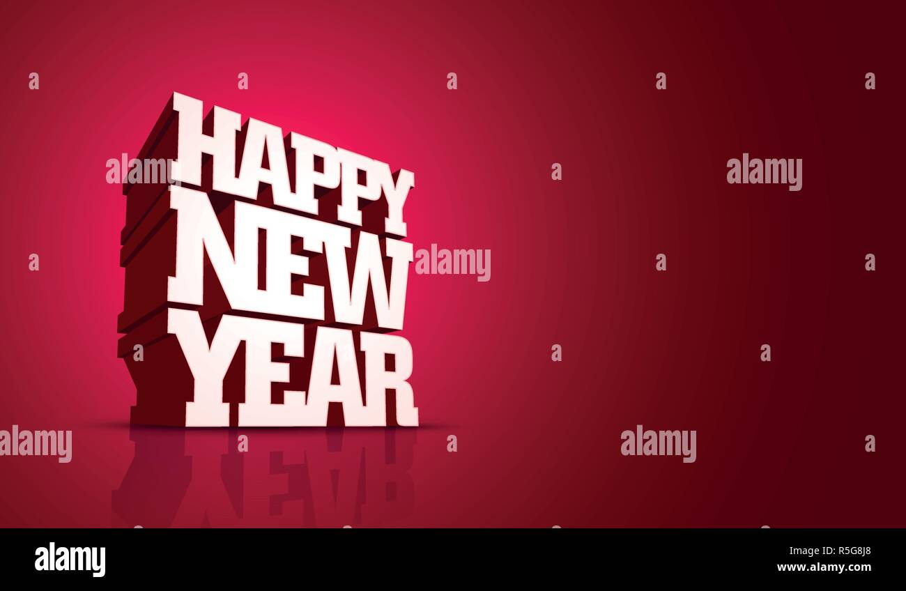Vector Happy New Year design with 3D bold letters. Stock Vector