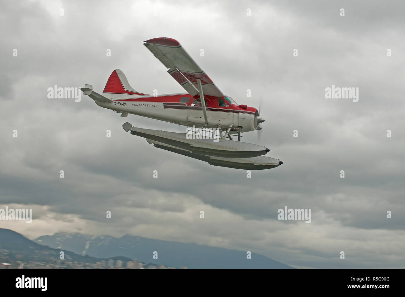 A de Havilland DHC2 Beaver floatplane making its approach to the waterways of Vancouver city Harbour in BC Canada. Stock Photo