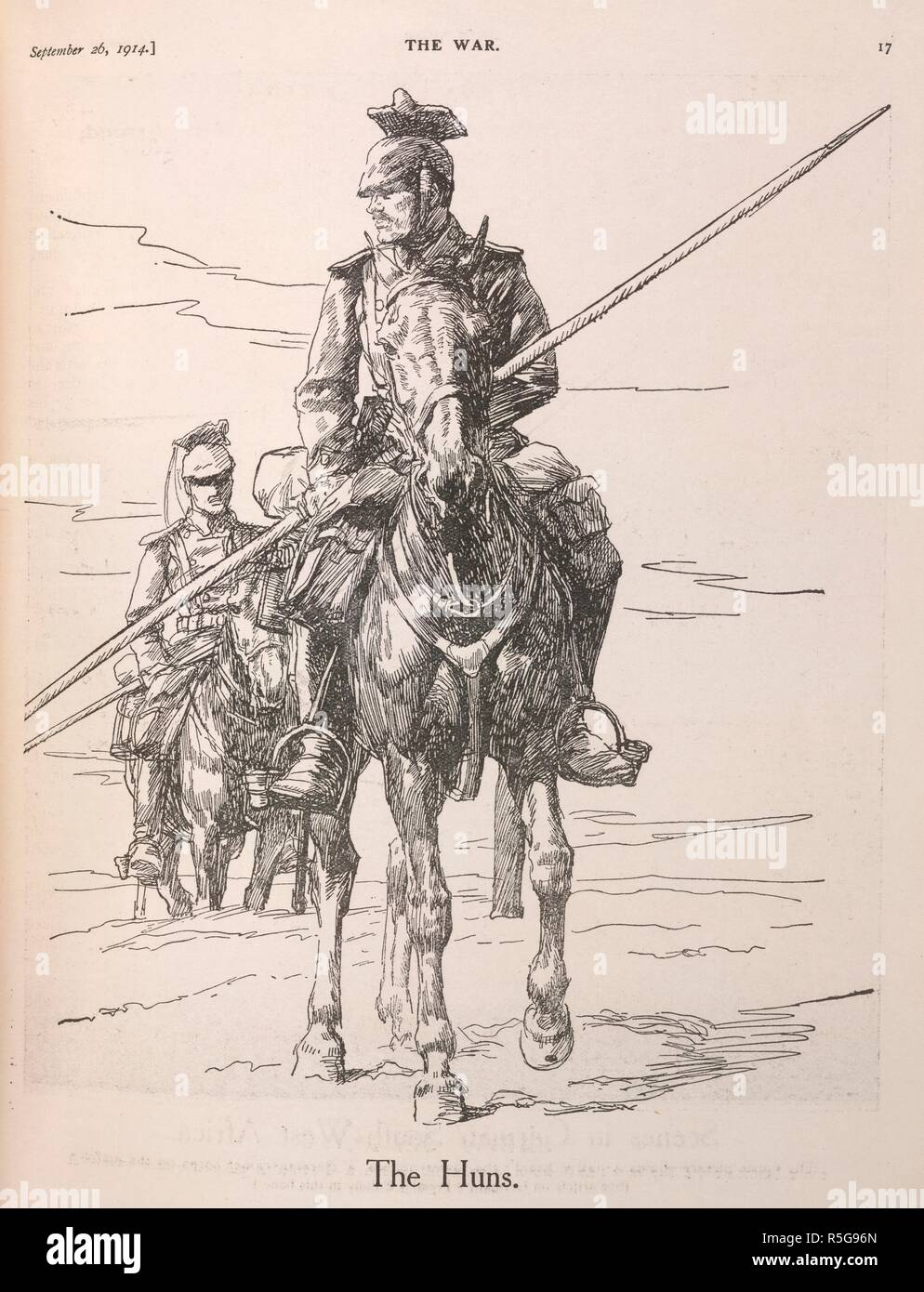 'The Huns'. An illustration showing two German lancers (Uhlans), during the First World War. The War, Nelson's picture weekly. London, 1914. Source: The War, Nelson's picture weekly. 26.09.1914. page 17. - Stock Image
