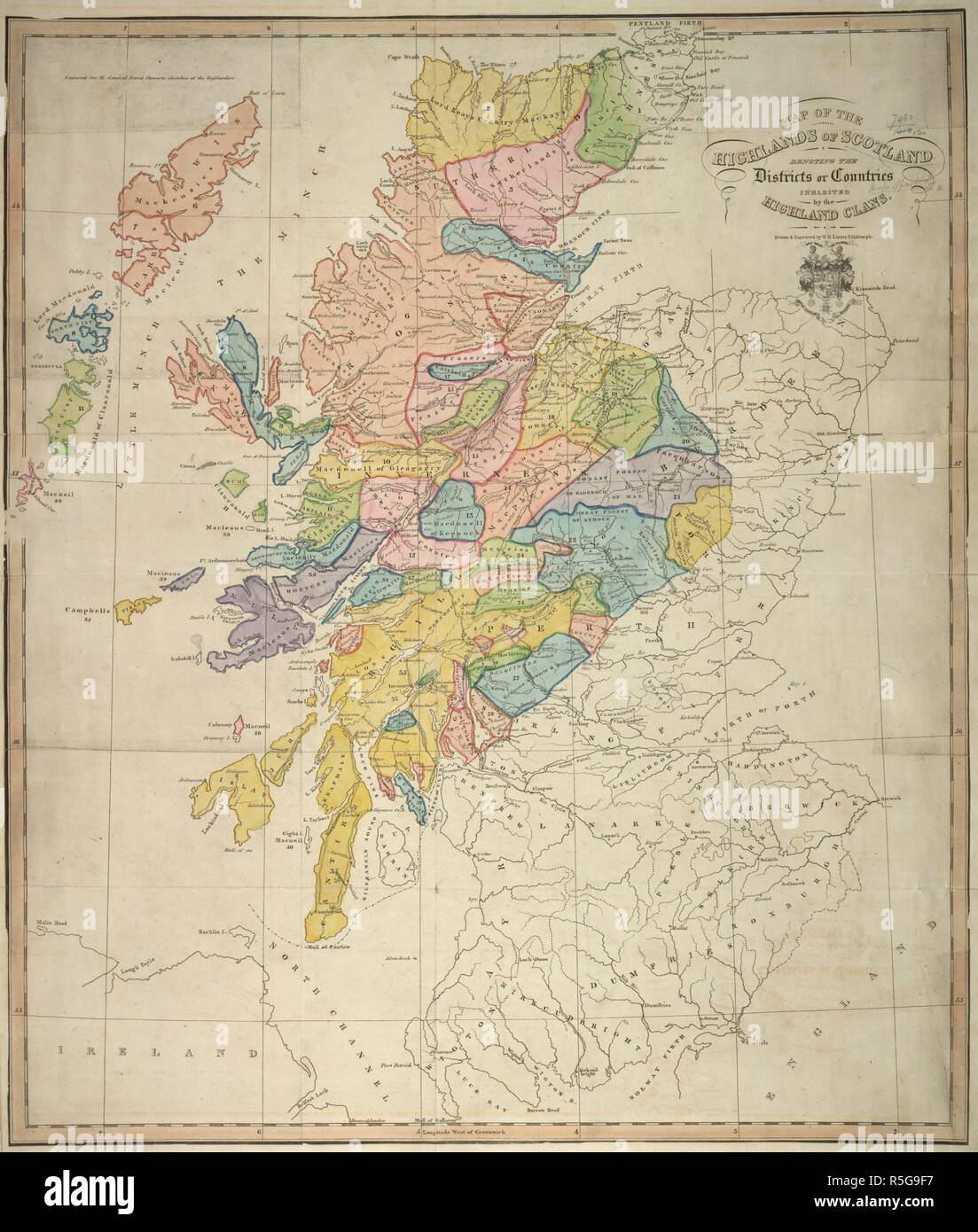 A map of the Highlands of Scotland. Map of the Highlands of Scotland,  denoting