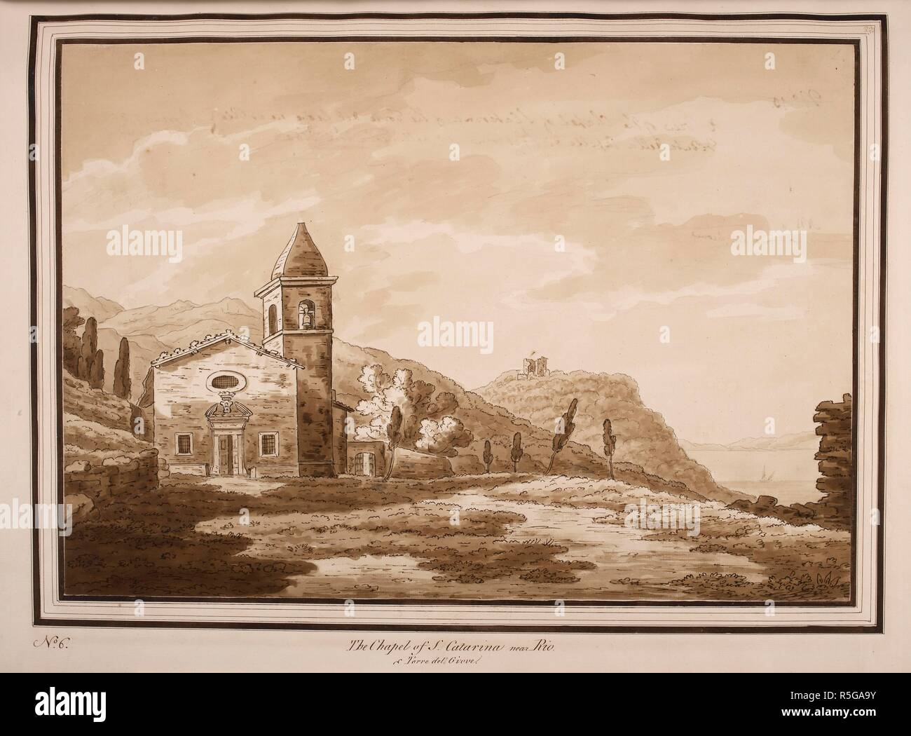 'The chapel of s. Caterina near Rio . JOURNAL of a Tour through the Island of Elba, 26 Apr.-5 May 1789, by Sir Richard Colt Hoare, 2nd Bart., of Stourhead, the Wiltshire antiquary and archaeologist, preceded by a map of the island and followed by thirty-two sepia wash sketches, the latter (except nos. 1, 14) being described and signed by Hoare on the back. The volume was written in 1793 and was published in 1814. Source: Add. 41761 f.34 no.6. Stock Photo