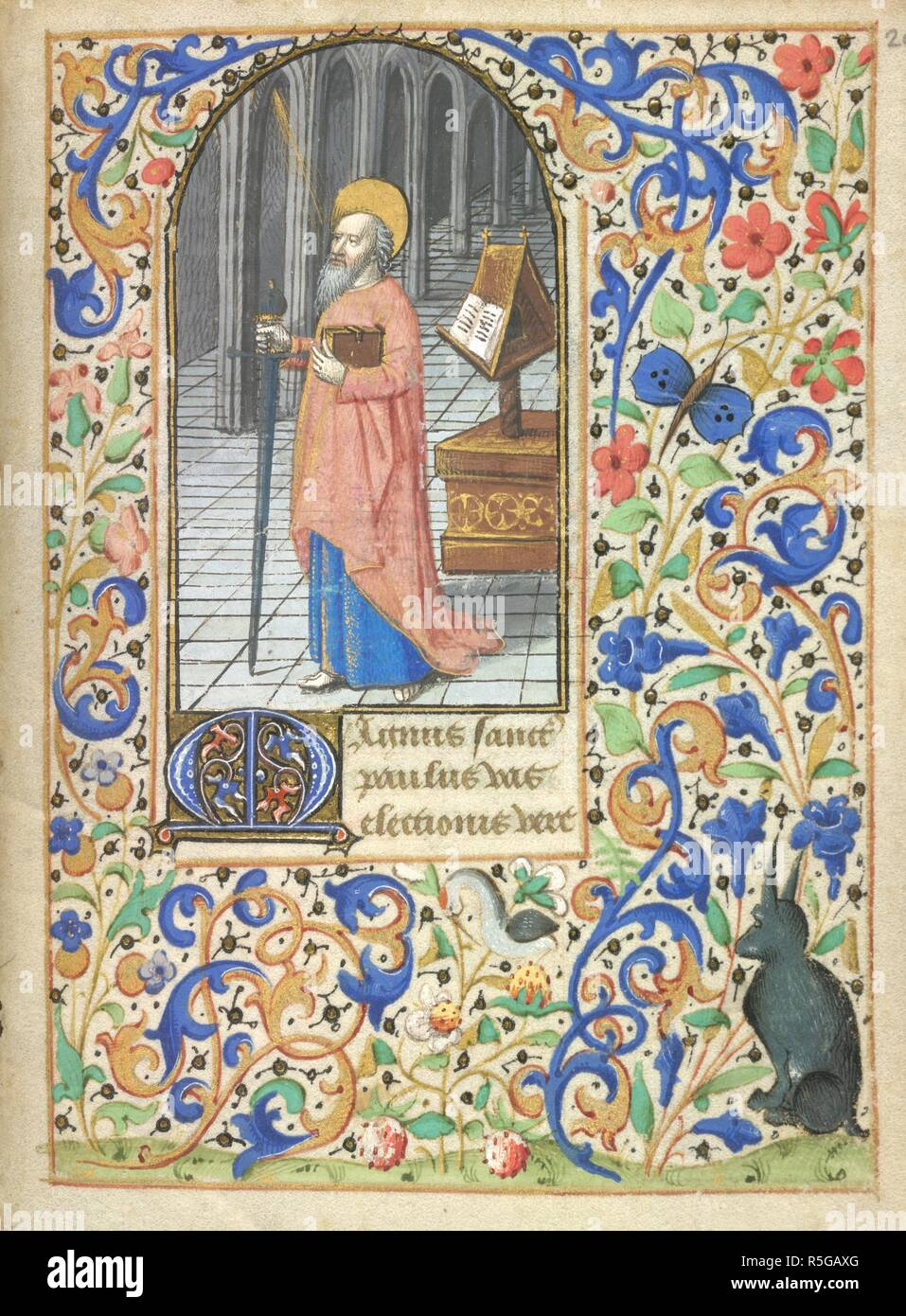 St Paul. Book of Hours. France [Loire Valley]; circa 1460-1470. [Whole folio] Suffrages to the Saints. St Paul, with staff and book, standing in a church; a lectern with open book behind him. Prayers to St Paul beginning with decorated initial 'M'. Borders with foliate decoration and outline of an animal (uncoloured)  Image taken from Book of Hours  Originally published/produced in France [Loire Valley]; circa 1460-1470. . Source: Stowe 25, f.208. Language: Latin and French. Author: Circle of the Coëtivy Master. Stock Photo