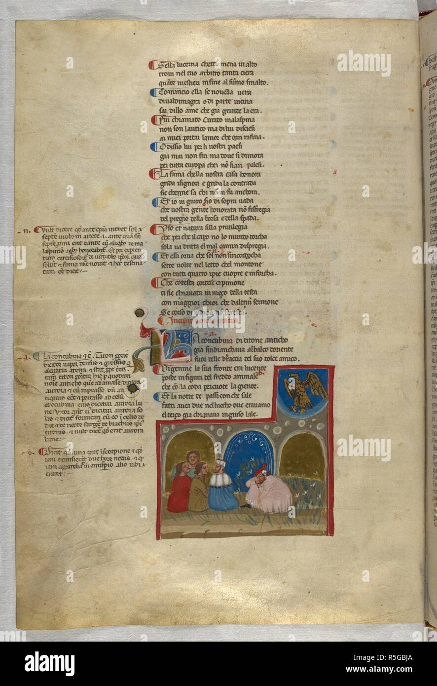 Purgatorio: Dante dreams of an eagle above him. Dante Alighieri, Divina Commedia ( The Divine Comedy ), with a commentary in Latin. 1st half of the 14th century. Source: Egerton 943, f.77v. Language: Italian, Latin. - Stock Image
