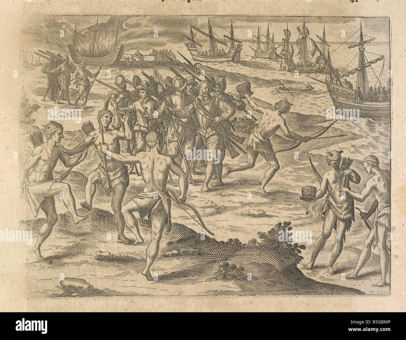 Eurpoean explorers arriving and encountering native Americans. America.  -Part VII.-German. Oppenheim : Bey H. Gallern, 1617. Source: 10003.e.26  p.81.