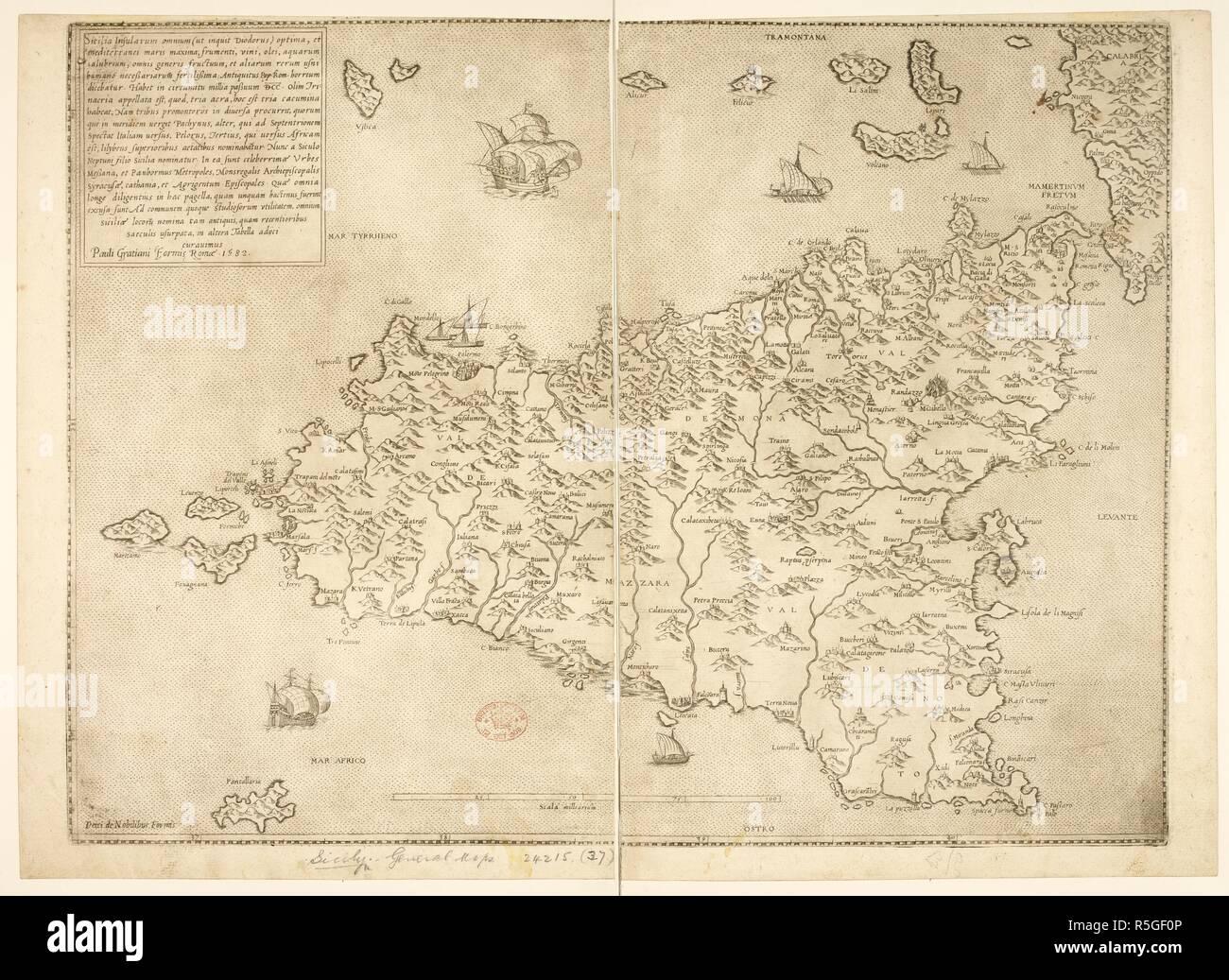 Map of the island of Sicily  Sicilia insularum omnium optima Scala