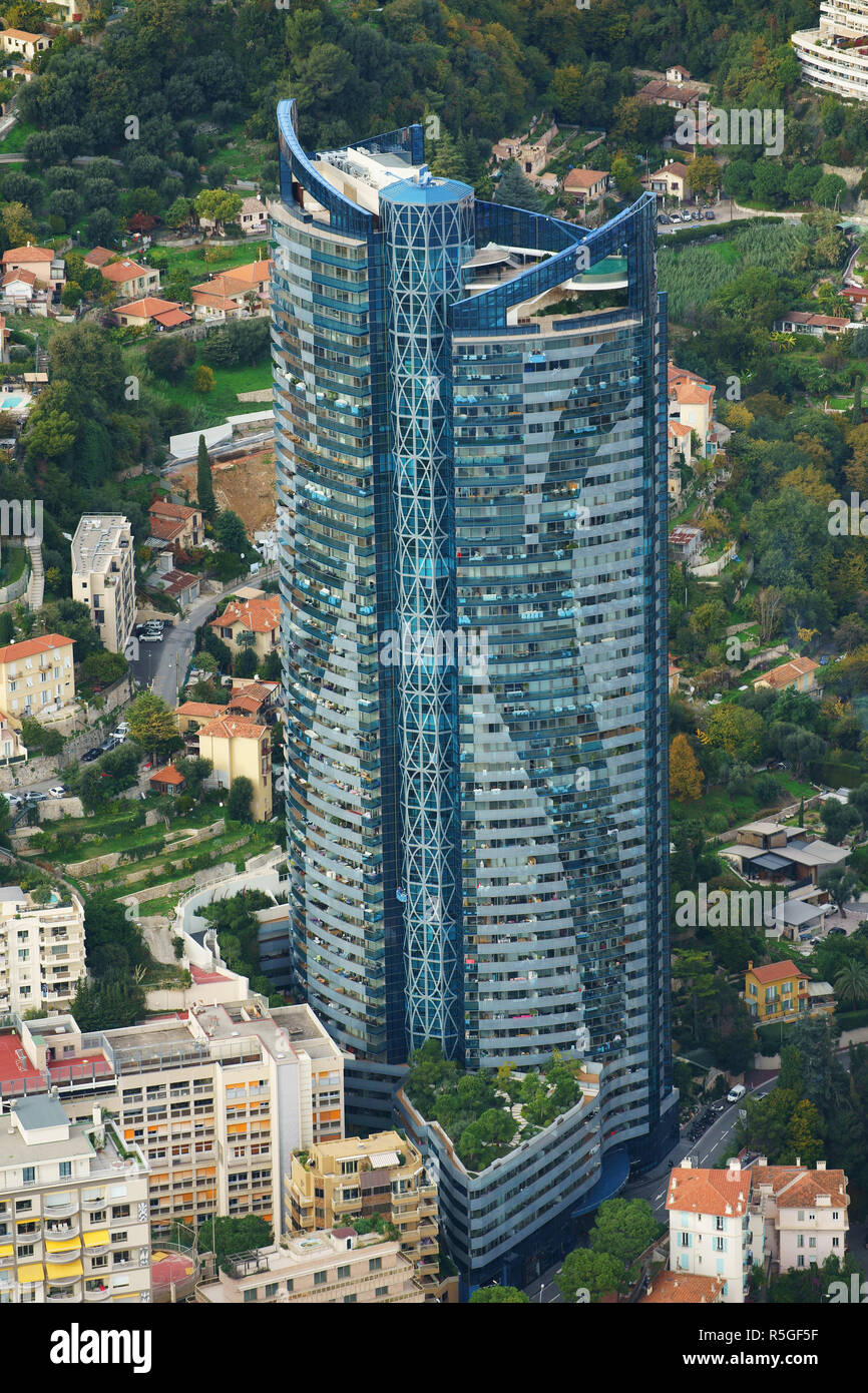 MONACO'S TALLEST BUILDING (height: 170m) (aerial view). Odeon Tower in La Rousse Saint-Roman district in the Principality of Monaco. - Stock Image