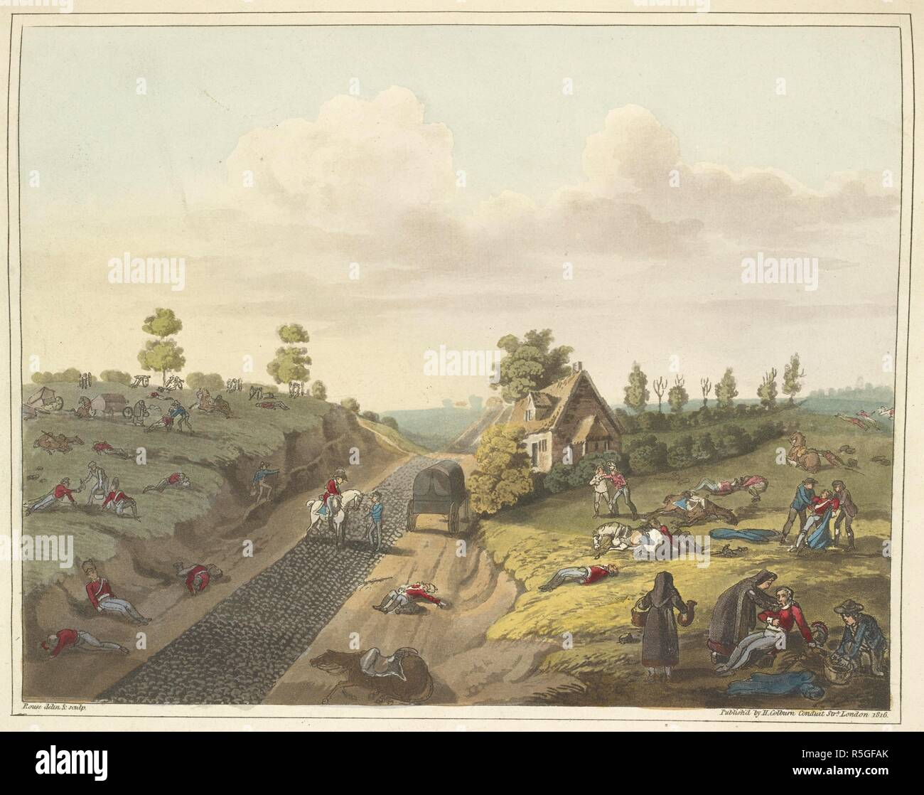 'View of the cottage of Valette, with the road on the left leading to Frischermont'. A number of dead British soldiers on the ground, and wounded being attended to. An Historical Account of the Campaign in the Netherlands, in 1815, under His Grace the Duke of Wellington, and Marshal Prince Blucher, comprising the battles of Ligny, Quatrebras, and Waterloo; with a detailed narrative of the political events connected with those memorable conflicts down to the surrender of Paris, and the departure of Bonaparte for St. Helena ... Embellished with ... plates ... from drawings ... by James Rouse. Lo - Stock Image