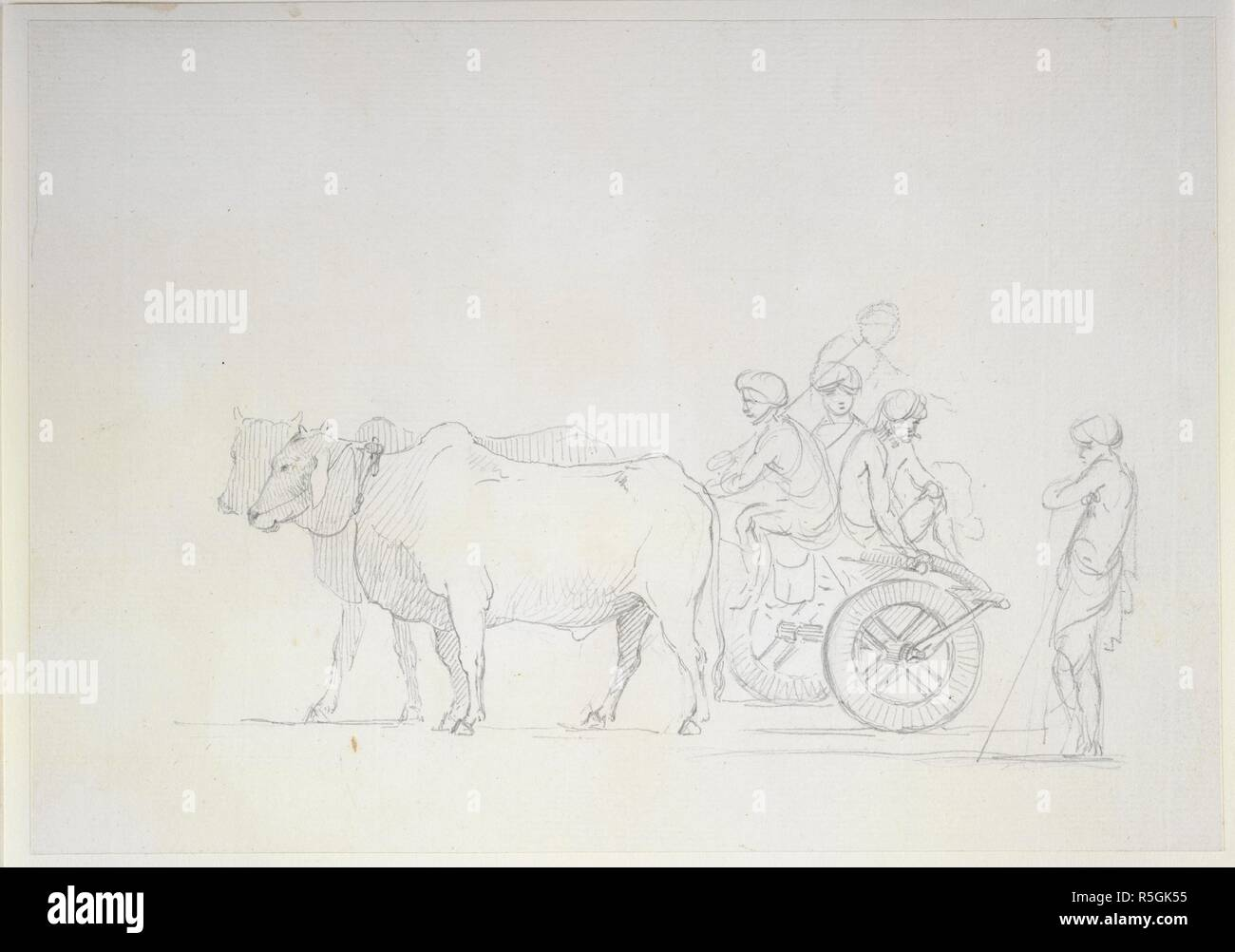 A bullock cart 1786 1793 one of 16 drawings of various kinds of