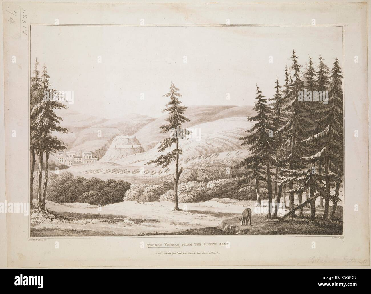 A horse grazing under some fir trees in the foreground, with British infantry squads seen in the distance on a field outside the village of Torres Vedras, hills in the background. Torres Vedras from the North West. London : Published by J. Booth, Duke Street, Portland Place, April 14 1809. Source: Maps K.Top.74.74. Language: English. Author: Clark. - Stock Image