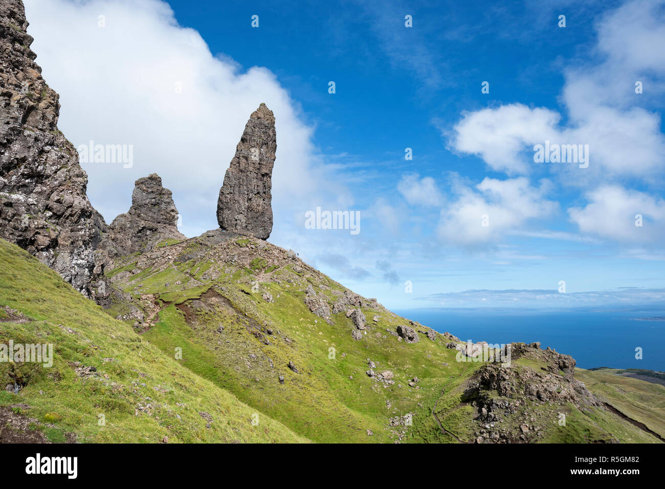 Rock Needle Old Man of Storr, Isle of Skye, Scotland, Great Britain - Stock Image