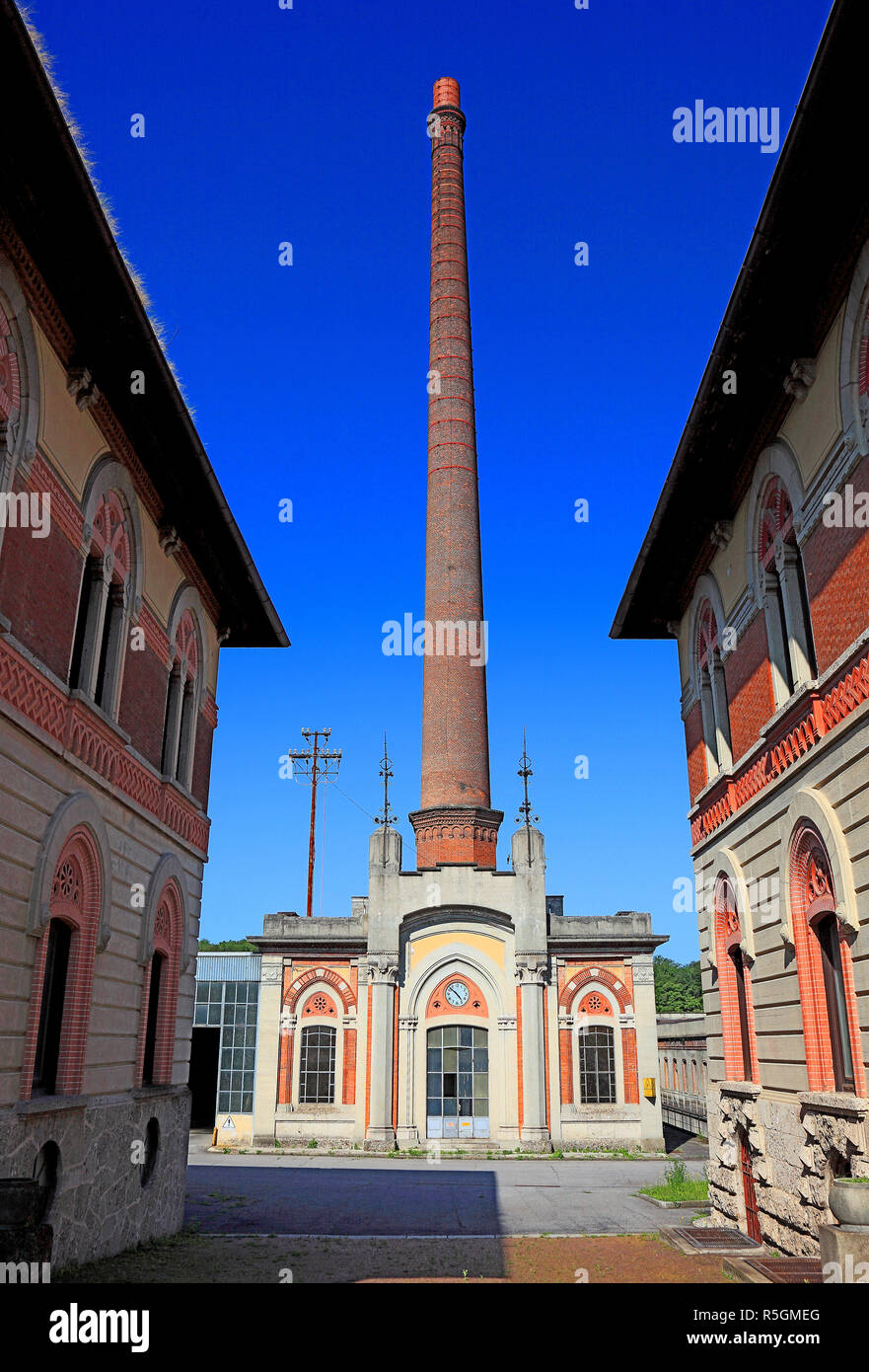 Building of the former textile factory, industrial monument, Crespi d'Adda, Lombardy, Italy - Stock Image