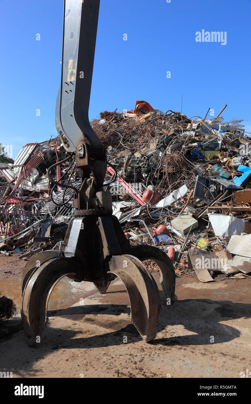 Scrap metal, metal waste in a recycling plant, Germany - Stock Image