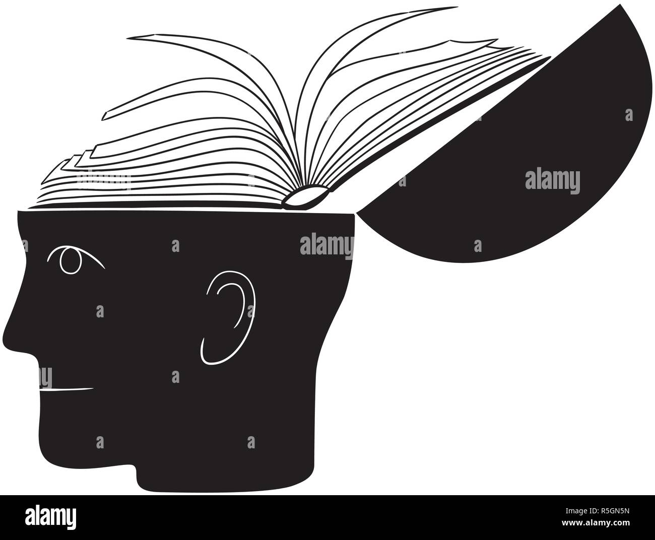 Symbolic drawing of head and knowledge with culture - Stock Image
