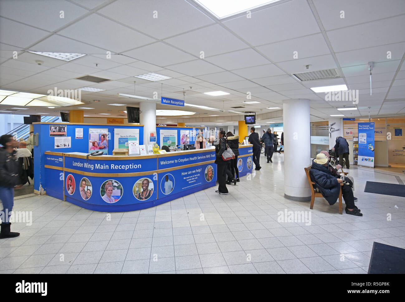 The main entrance to Croydon University Hospital in South London, UK. A typical regional hospital comprising Victorian buildings and modern extensions - Stock Image