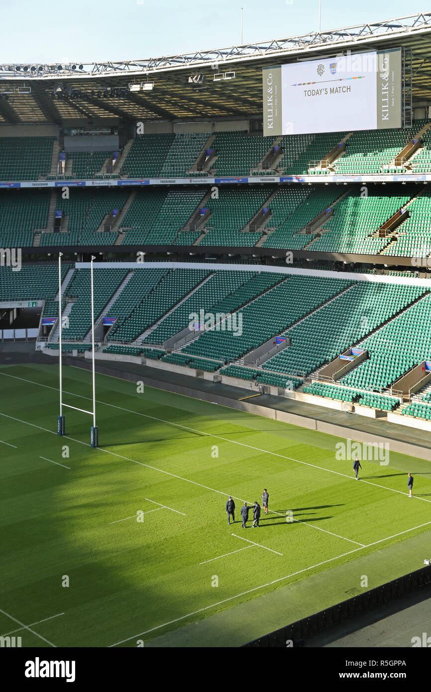 Interior of Twickenham Rugby Stadium - shown empty during a team practice session. - Stock Image