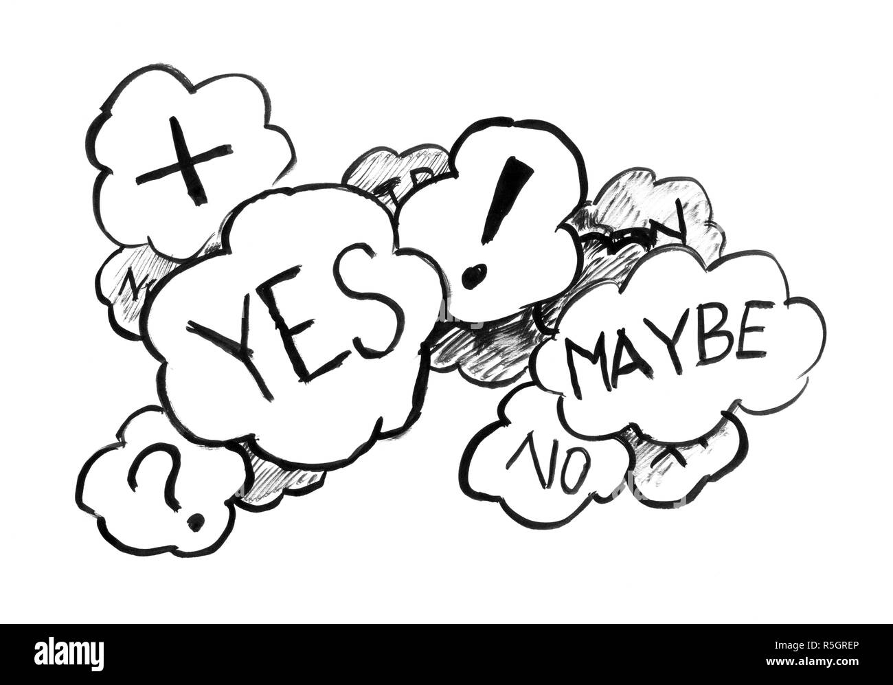 Black Ink Grunge Hand Drawing of Speech Bubbles of Uncertainty and Decision - Stock Image