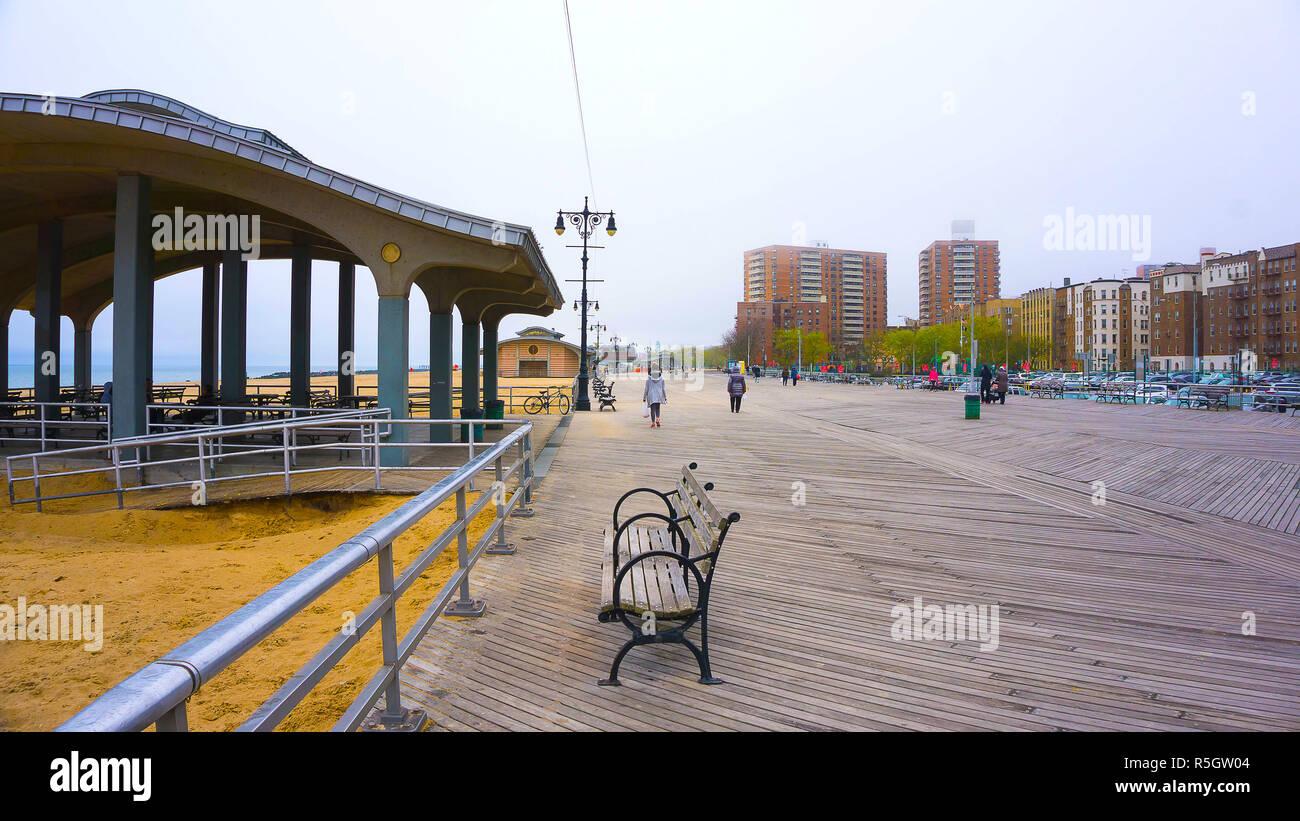 Coney Island boardwalk, Brighton beach, Brooklyn, USA Stock Photo