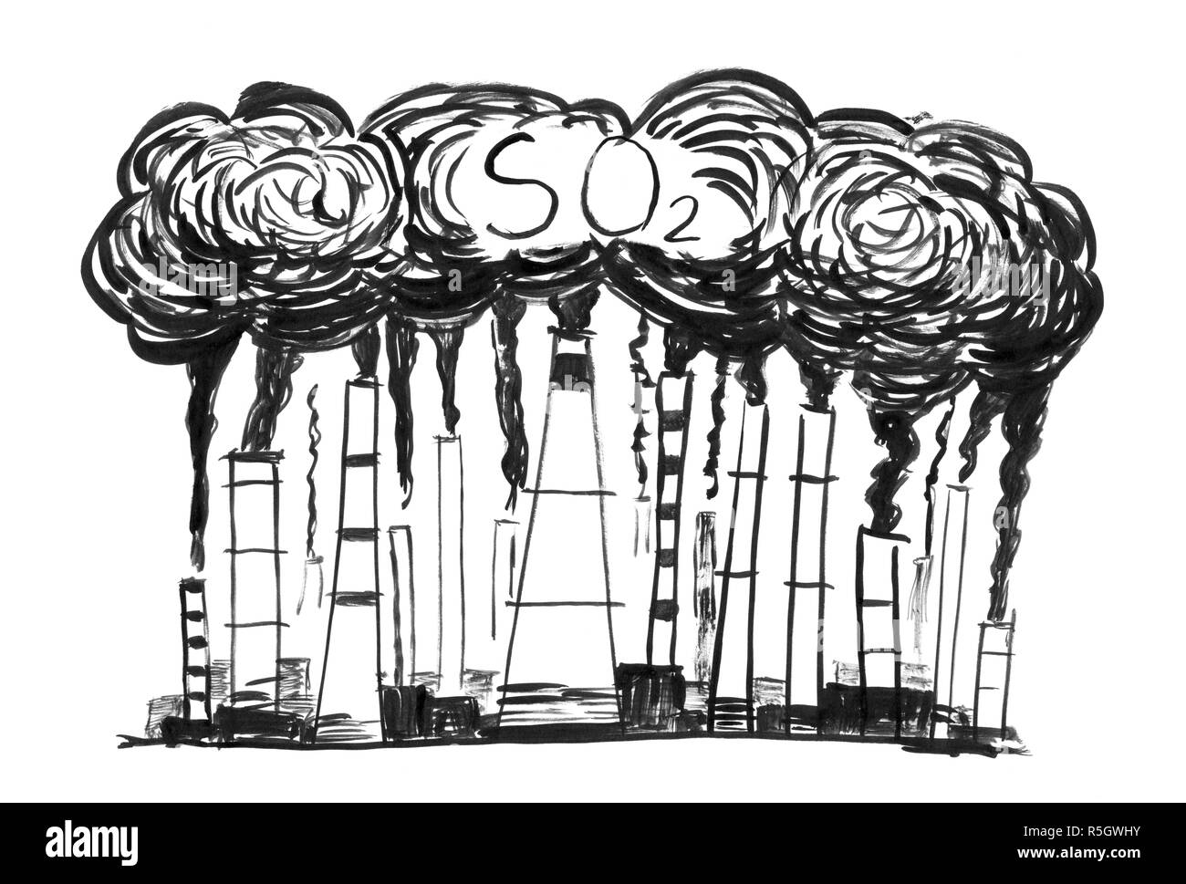 Black Ink Grunge Hand Drawing of Smoking Smokestacks, Concept of Industry or Factory SO2 Air Pollution - Stock Image