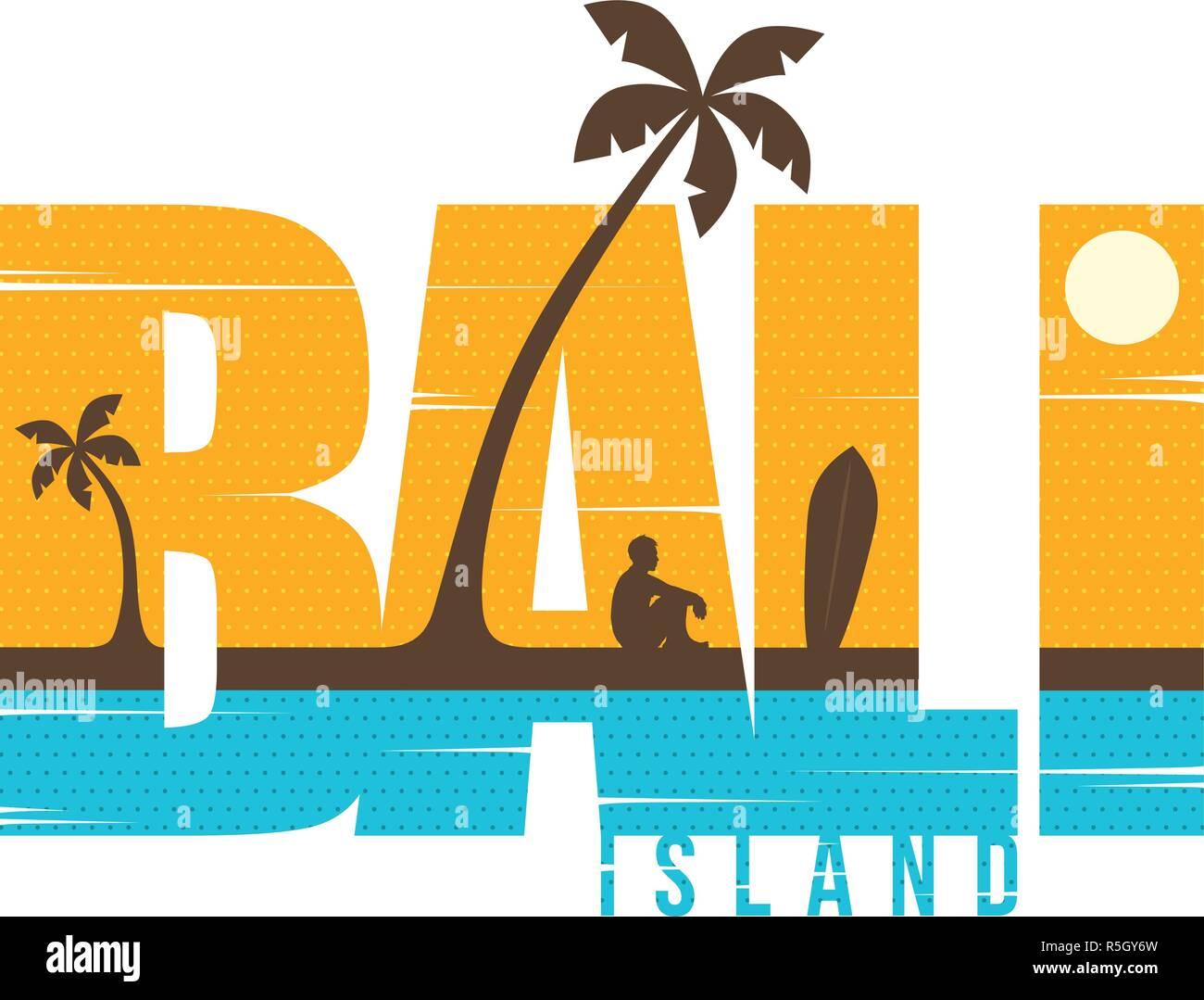 Bali Island Summer Holidays Beach Sign Symbol Vector Art Stock