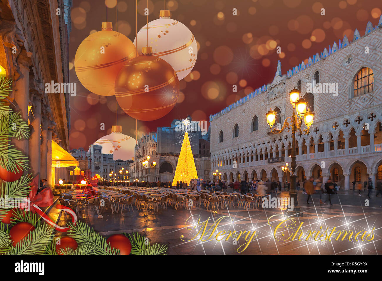 Christmas greetings card with fir braches, Venice San Marco Square abstract background and fantasy sky Stock Photo