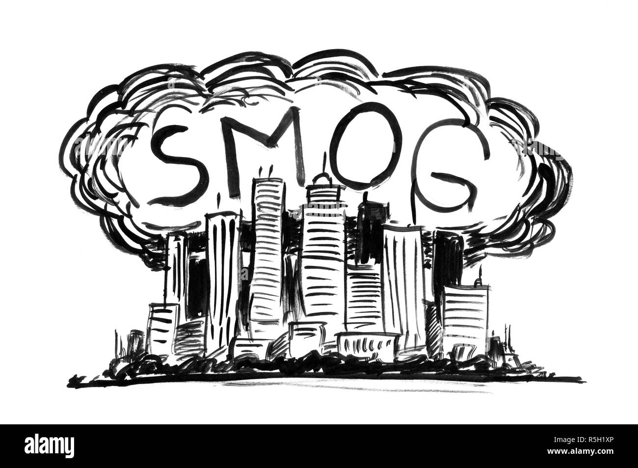 Black ink grunge hand drawing of city covered by smog and