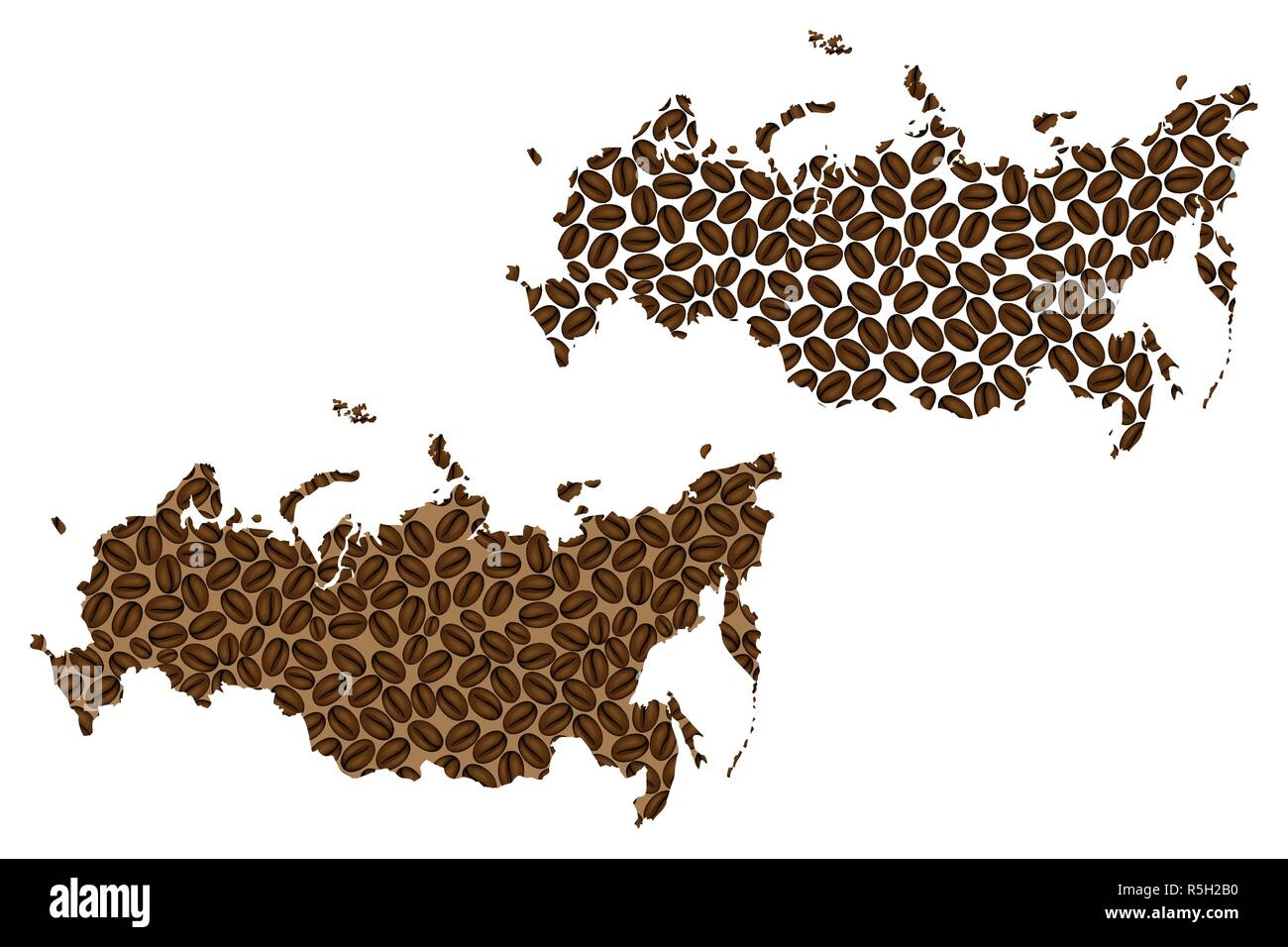 Russia -  map of coffee bean, Russian Federationo map made of coffee beans, - Stock Image