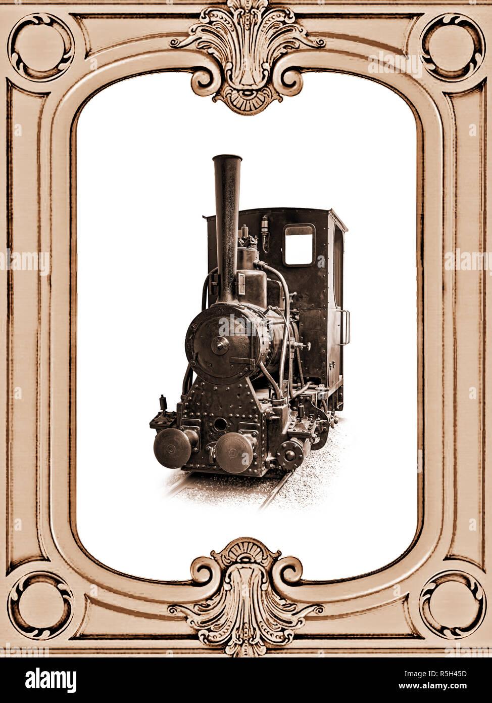 Narrow gauge industrial steam locomotive inside vintage frame, sepia color. - Stock Image