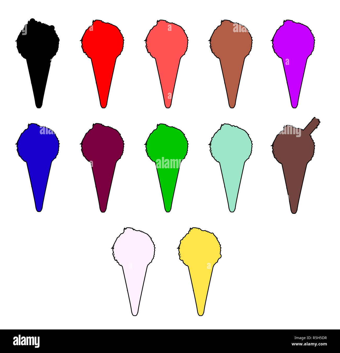 Icecream Cone Icons - Stock Image