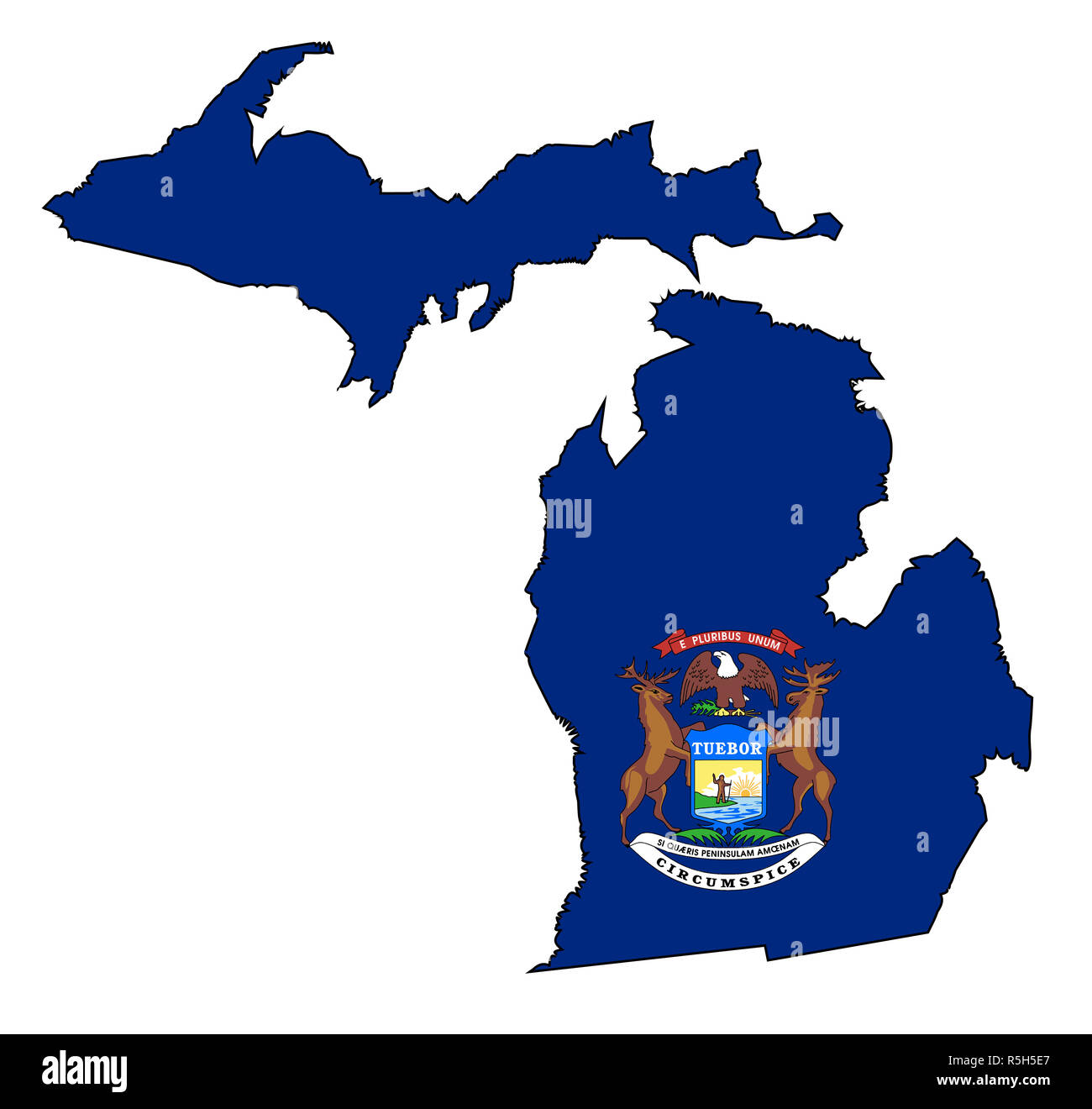 The State Of Michigan Map.Map State Michigan American Flag Cut Out Stock Images Pictures Alamy