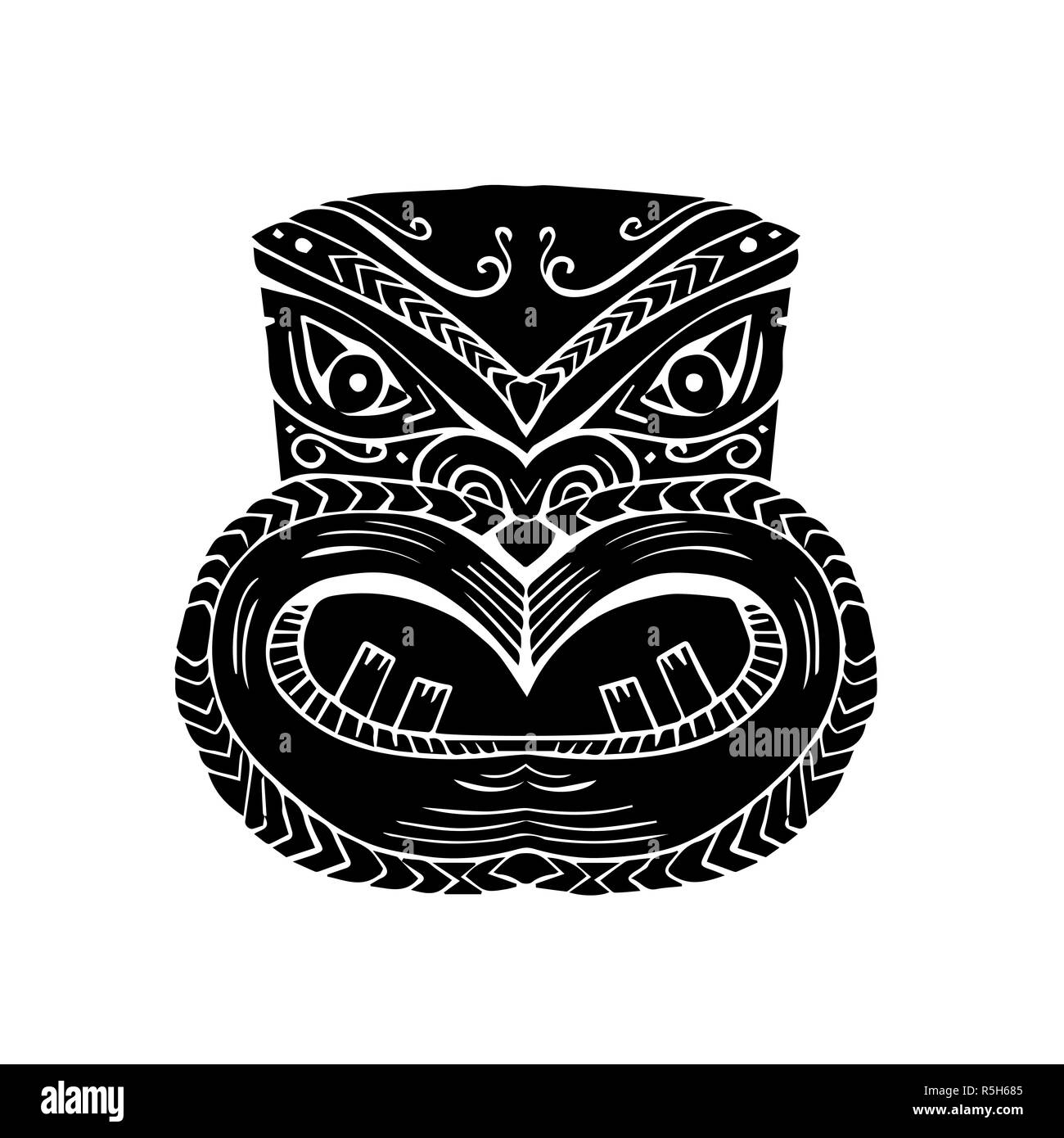 New Zealand Maori Koruru Tiki Mask Woodcut - Stock Image