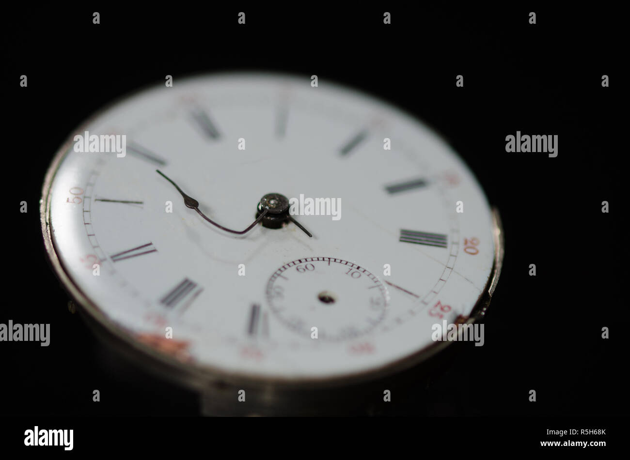 Stress of Impending Deadline Visible on Vintage Pocket Watch - Stock Image