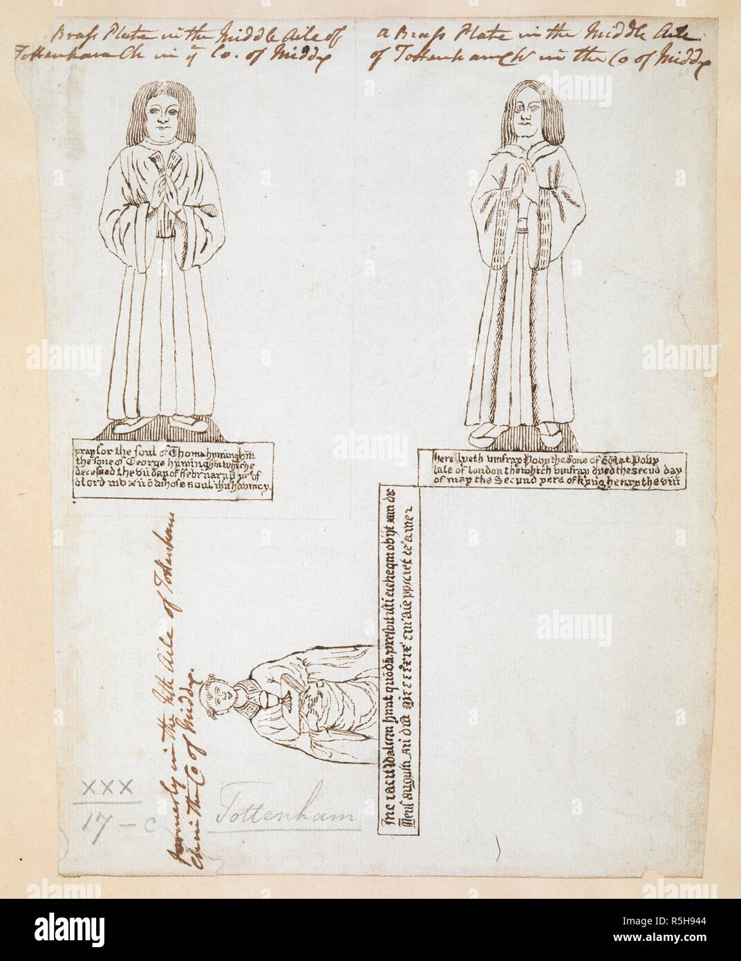 Three Drawings Of Monumental Brasses With Inscriptions Formerly In