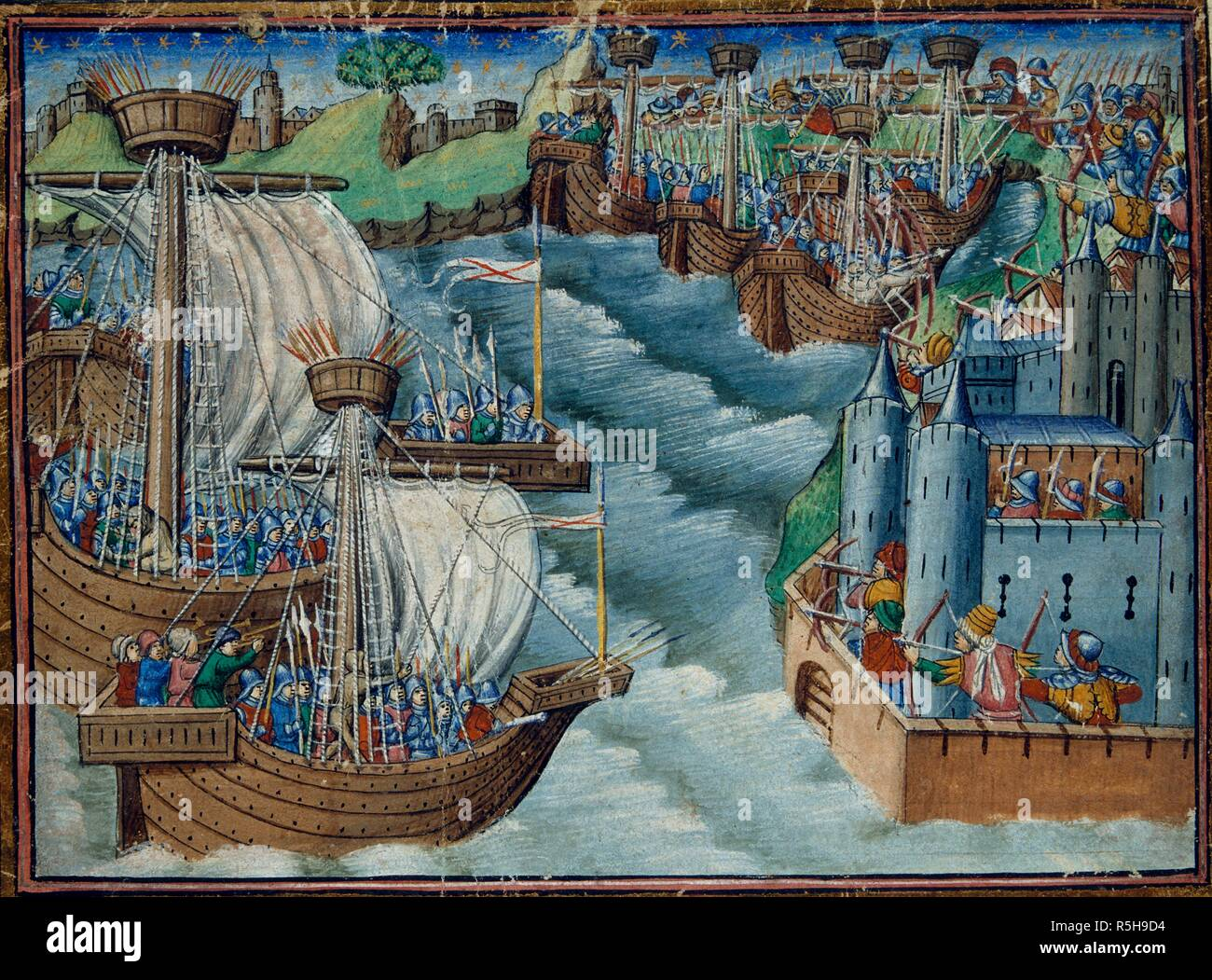 Christian fleet attacks the port of Gaeta in Italy, held by the Turks. The Three Kings' Sons. England; circa 1500. Source: Harley 326, f.29v. Language: English. - Stock Image