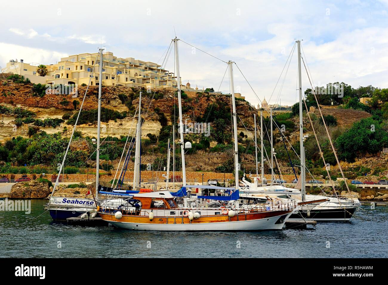 Mgarr harbour, Gozo - 8th October 2018:pleasure craft in the harbour of Mgarr Stock Photo